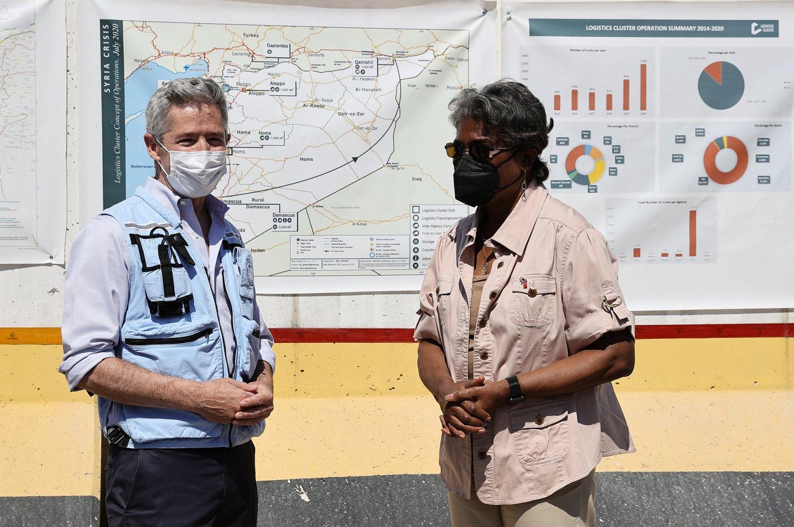 Mark Cutts, U.N. deputy regional humanitarian coordinator for the Syria crisis together with U.S. Ambassador to the U.N. Linda Thomas-Greenfield in southern Hatay's Reyhanlı district, Turkey, June 3, 2021 (AA Photo)