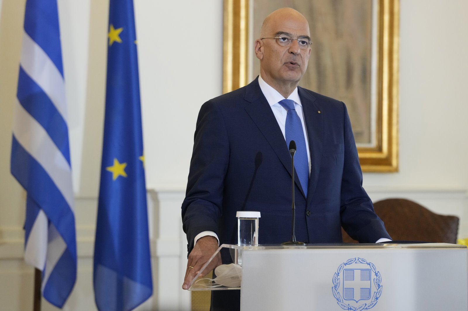 Greek Foreign Minister Nikos Dendias speaks to the media during a press conference after a meeting with his Turkish counterpart Mevlüt Çavuşoğlu in Athens, Greece, Monday, May 31, 2021. (AP Photo)