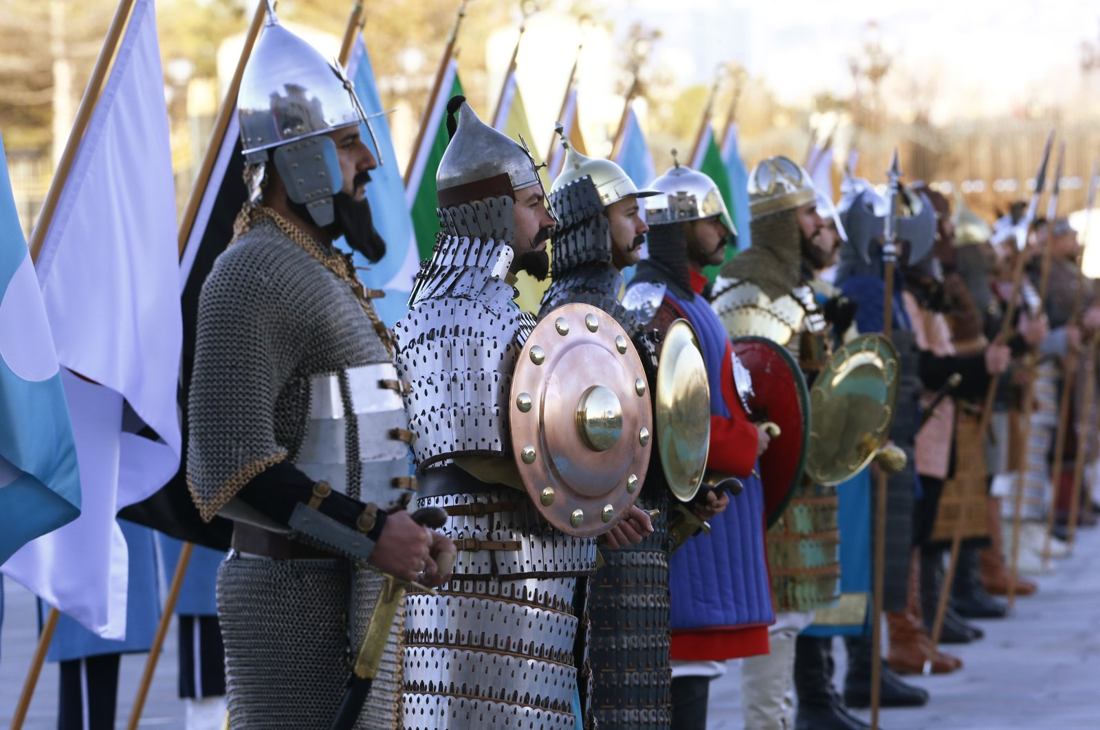 Soldiers dressed in historical Turkic states warrior attire stand during the welcoming ceremony of Croatian President Kolinda Grabar-Kitarovic by President Recep Tayyip Erdogan, prior to their meeting at the Presidential Palace in Ankara, Turkey, Jan. 16, 2019. (AP Photo)