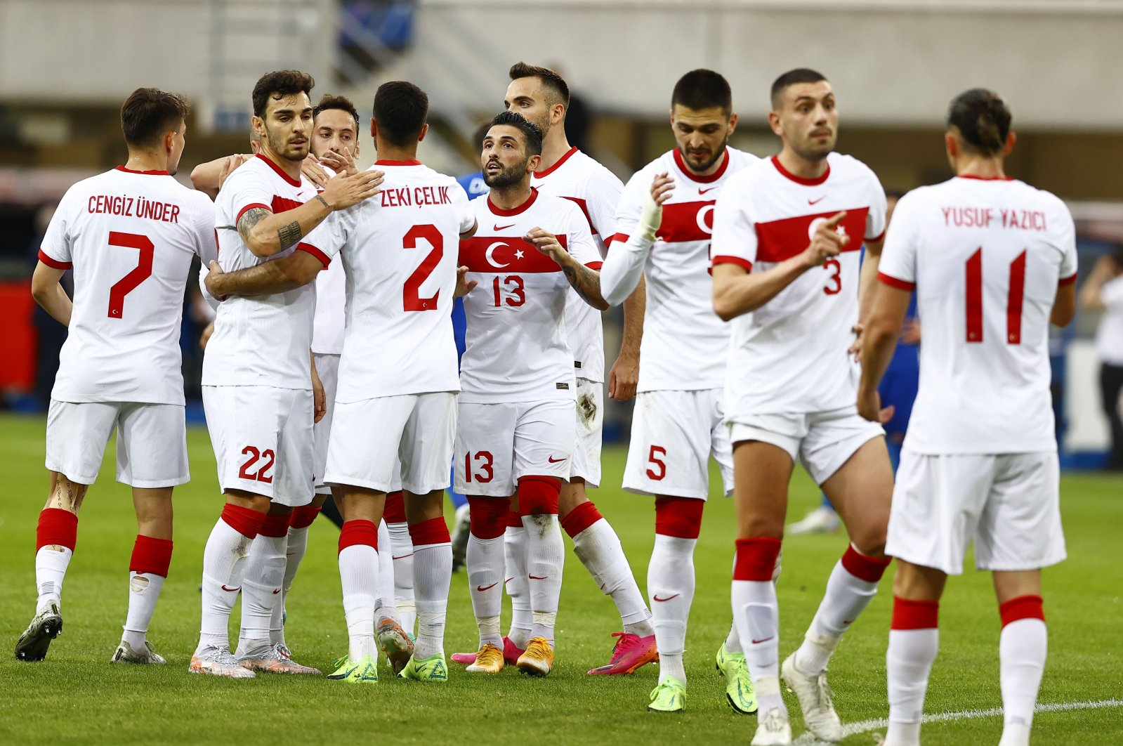 Turkey players celebrate after a friendly match with Moldova ahead of Euro 2020 Championship, in Paderborn, Germany, June 3, 2021. (AA Photo)