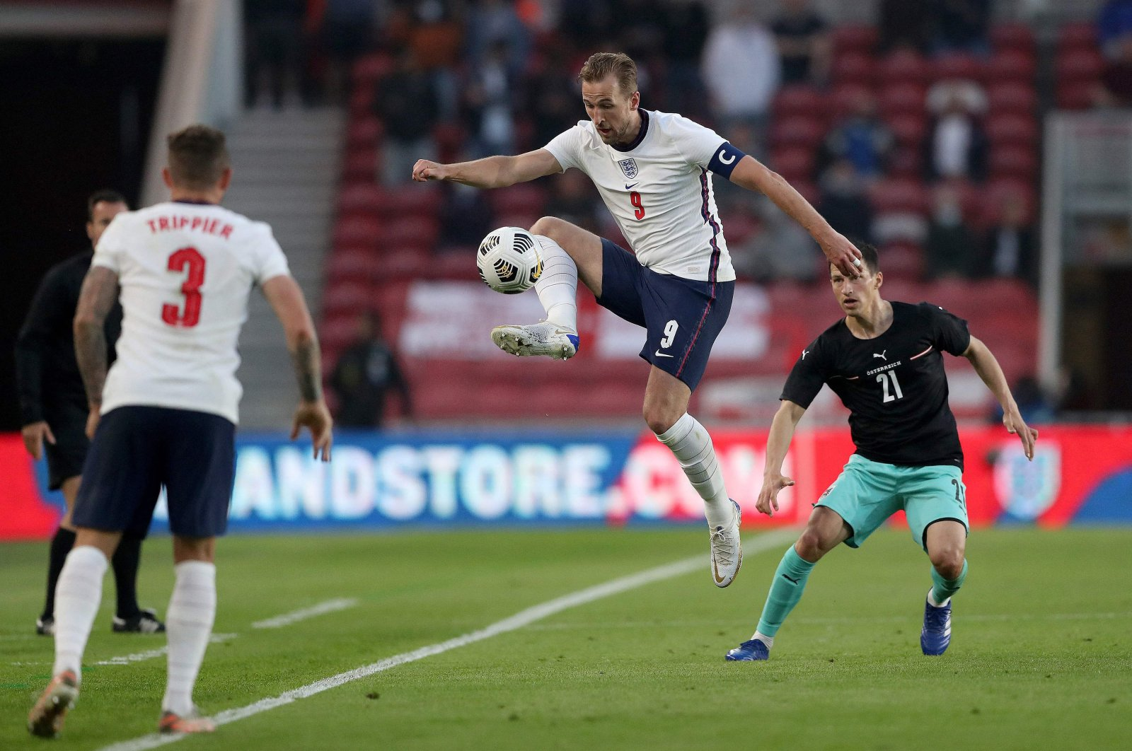 England's striker Harry Kane (C) controls the ball during a friendly match against Austria at the Riverside Stadium in Middlesbrough, England, June 2, 2021. (AFP Photo)