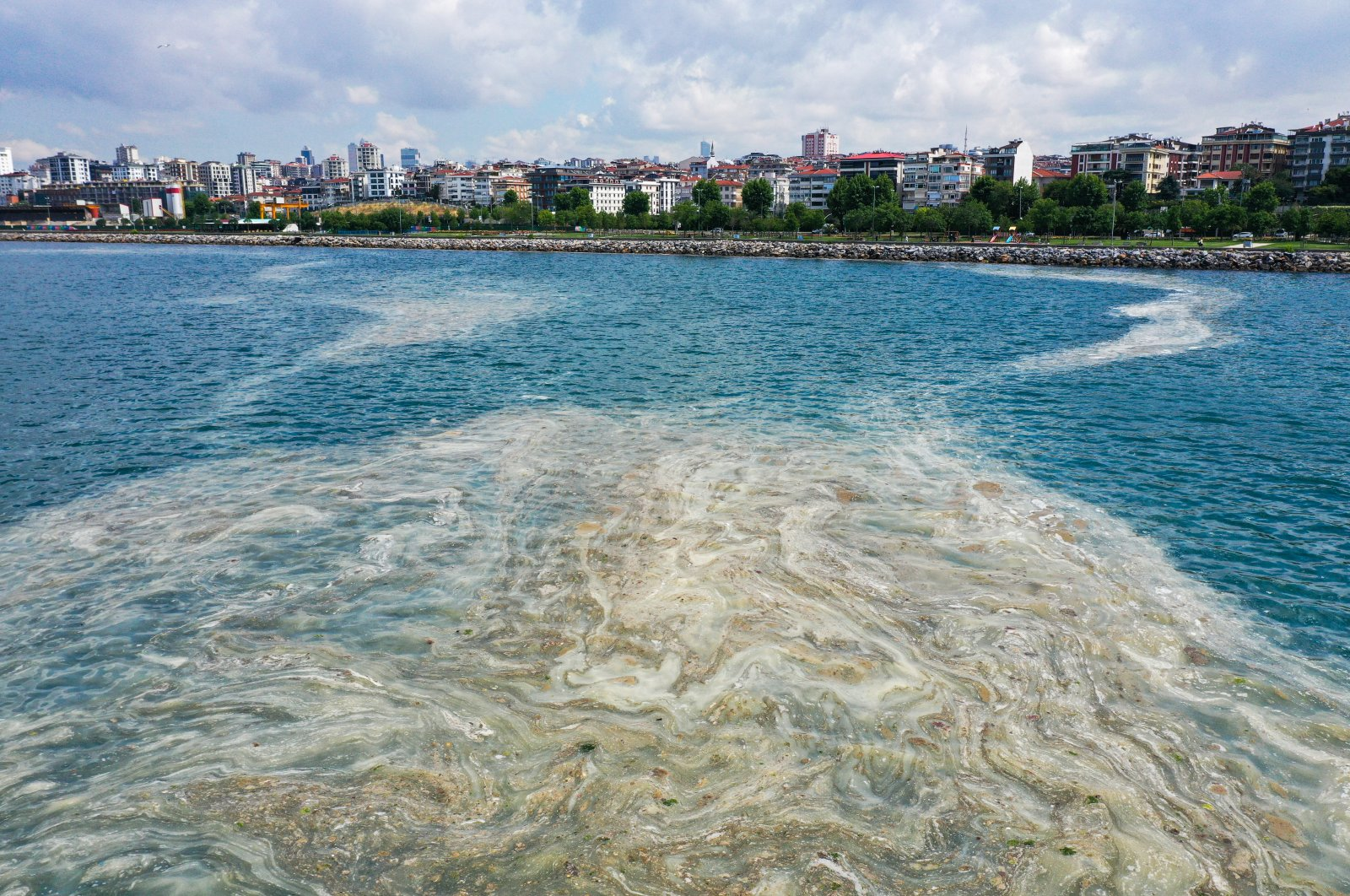 """A view of the """"sea snot"""" off the coast of the Asian side of Istanbul, Turkey, June 4, 2021. (AA PHOTO)"""