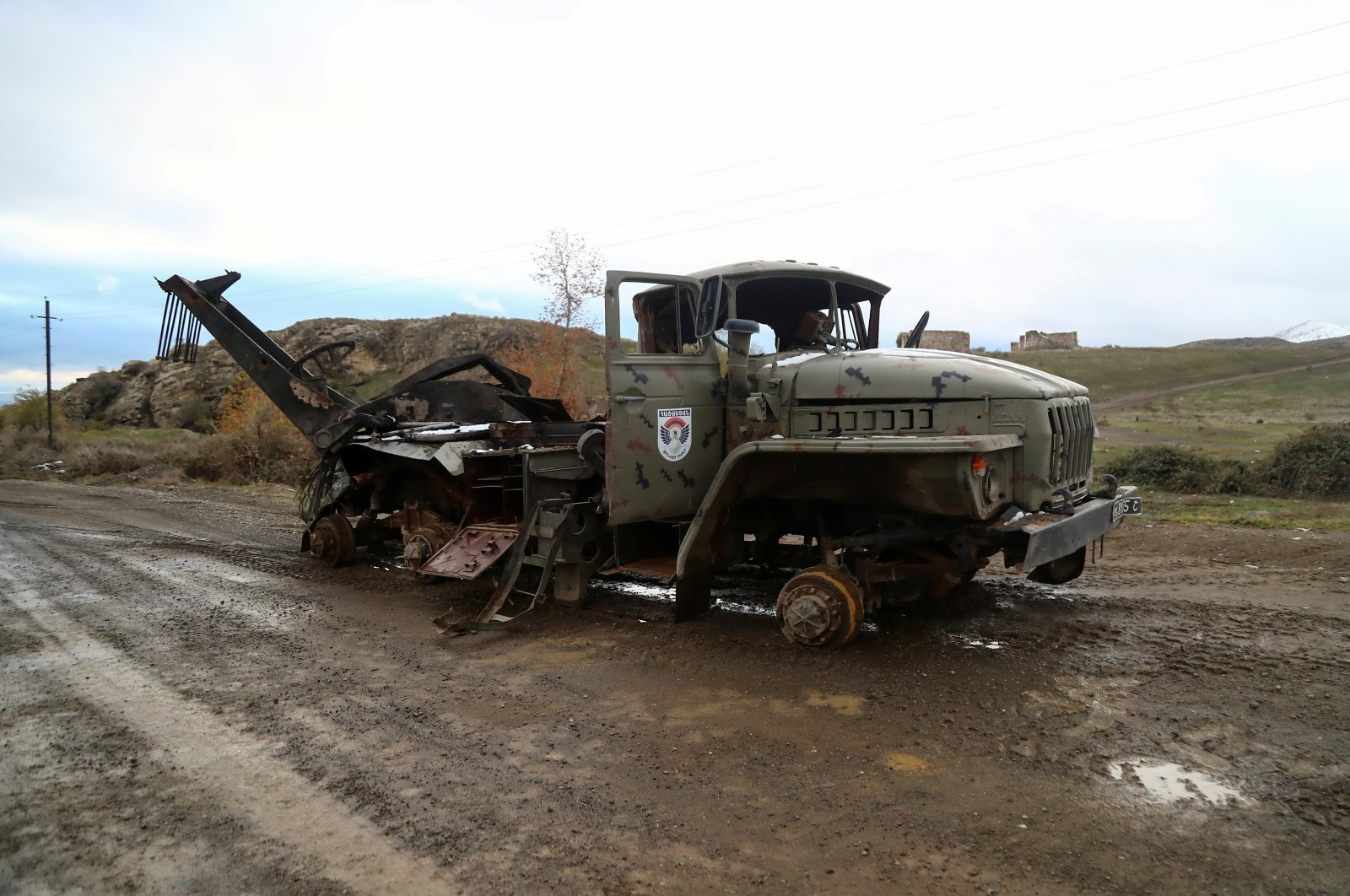 A view shows a damaged truck belonging to Armenian forces in an area that came under the control of Azerbaijan's troops following a military conflict over Nagorno-Karabakh, in Jabrayil District, December 7, 2020. (Reuters Photo)