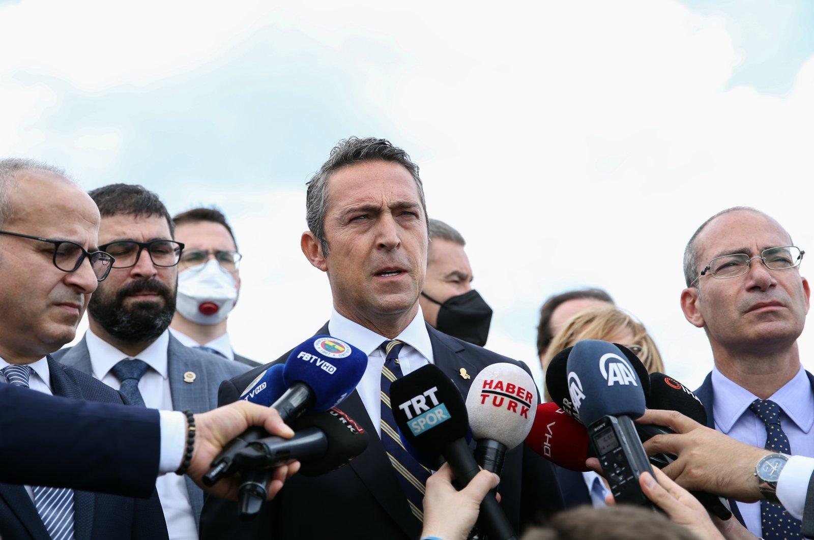 Fenerbahçe chairperson Ali Koç speaks to reporters after the hearing, in Istanbul, Turkey, June 4, 2021. (AA PHOTO)