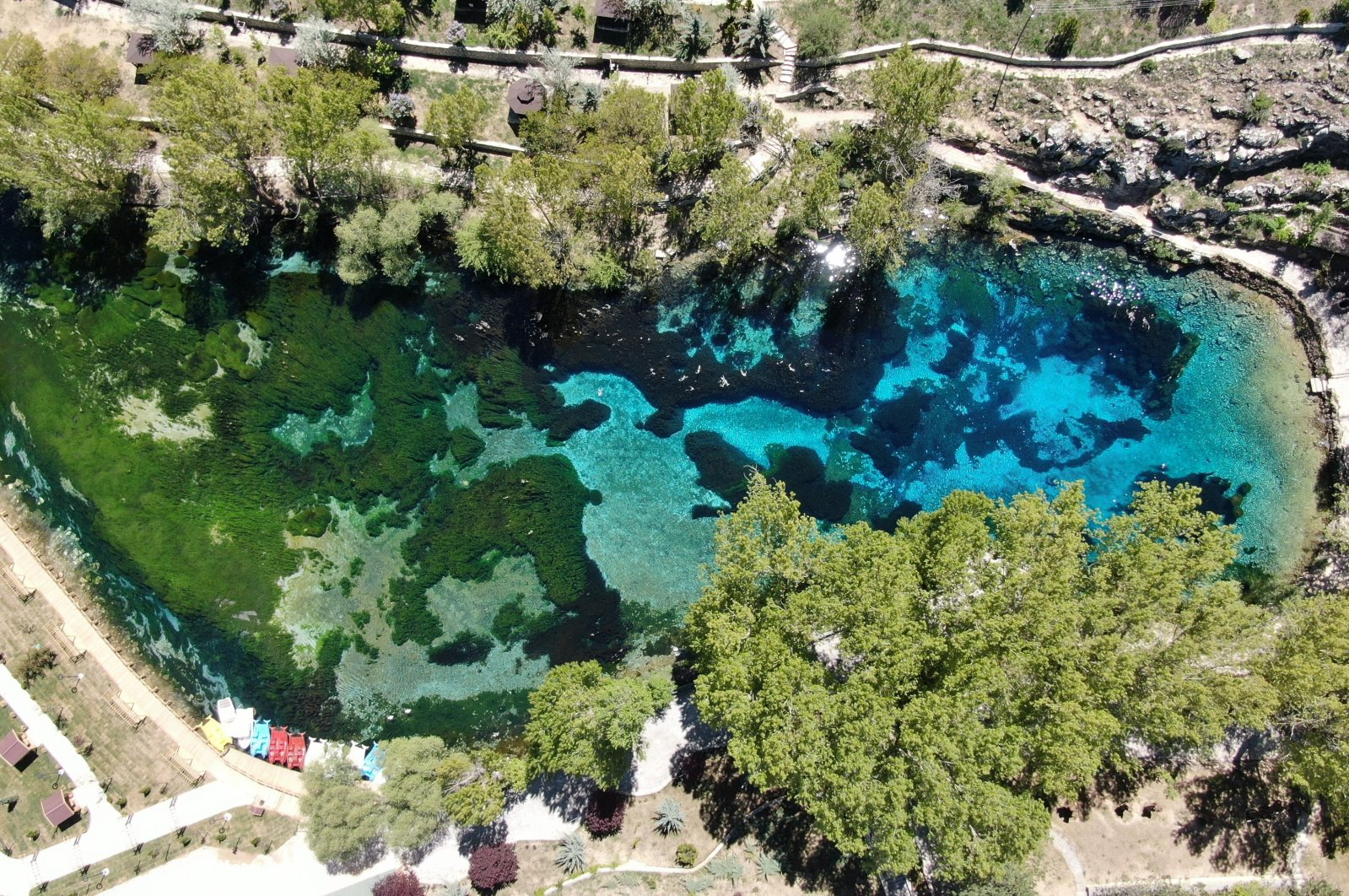 """A recent addition to Turkey's """"Natural Protected Sites"""" list, Lake Gökpınar's water is so clear that its entire lakebed is visible, Sivas, Turkey, May 14, 2021. (IHA Photo)"""