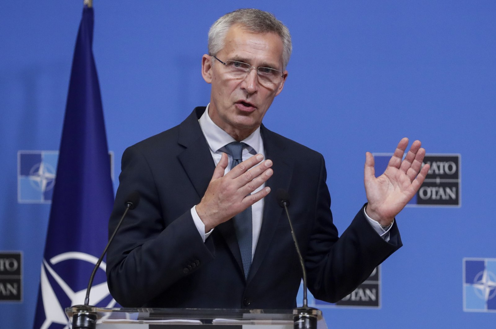 NATO Secretary-General Jens Stoltenberg speaks during a media conference after a meeting with Lithuanian Prime Minister Ingrida Simonyte at NATO headquarters in Brussels, Belgium, June 3, 2021. (AP Photo)