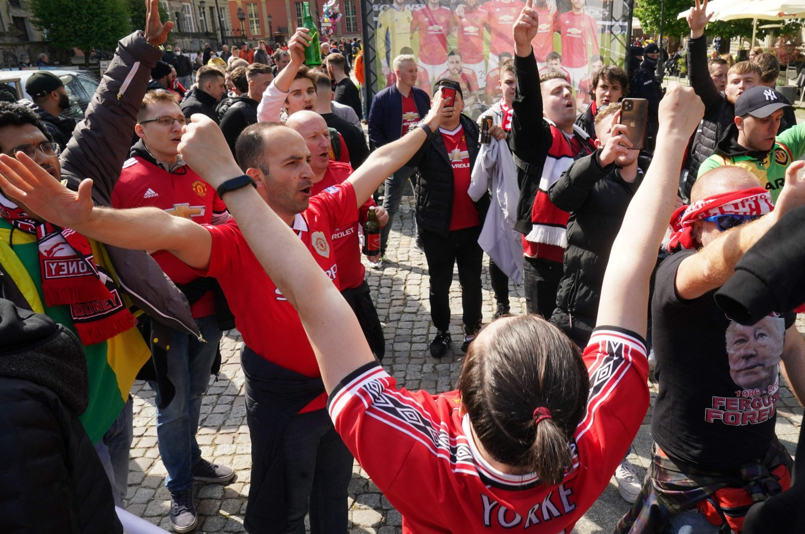 Manchester United supporters celebrate prior to the UEFA Europa League football final between Spain's Villarreal and England's Manchester United at Gdansk Stadium in Gdansk, Poland, May 26, 2021. (AFP Photo)