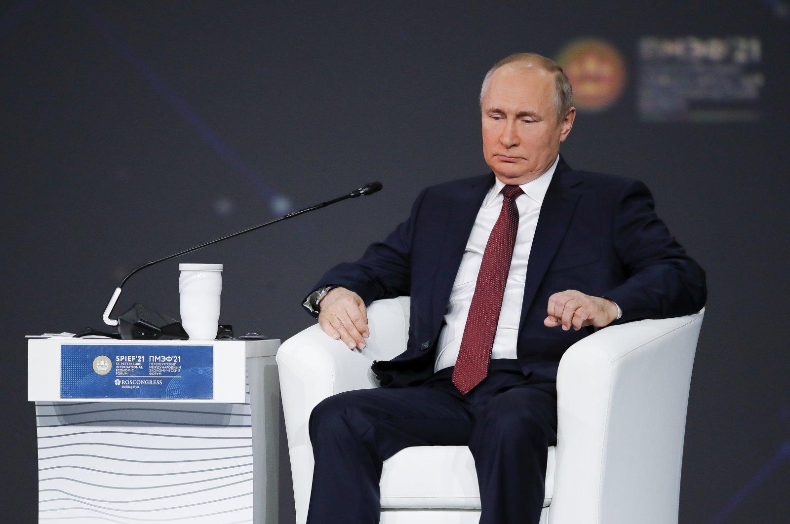 Russian President Vladimir Putin attends the St. Petersburg International Economic Forum in St. Petersburg, Russia, June 4, 2021. (AP Photo)