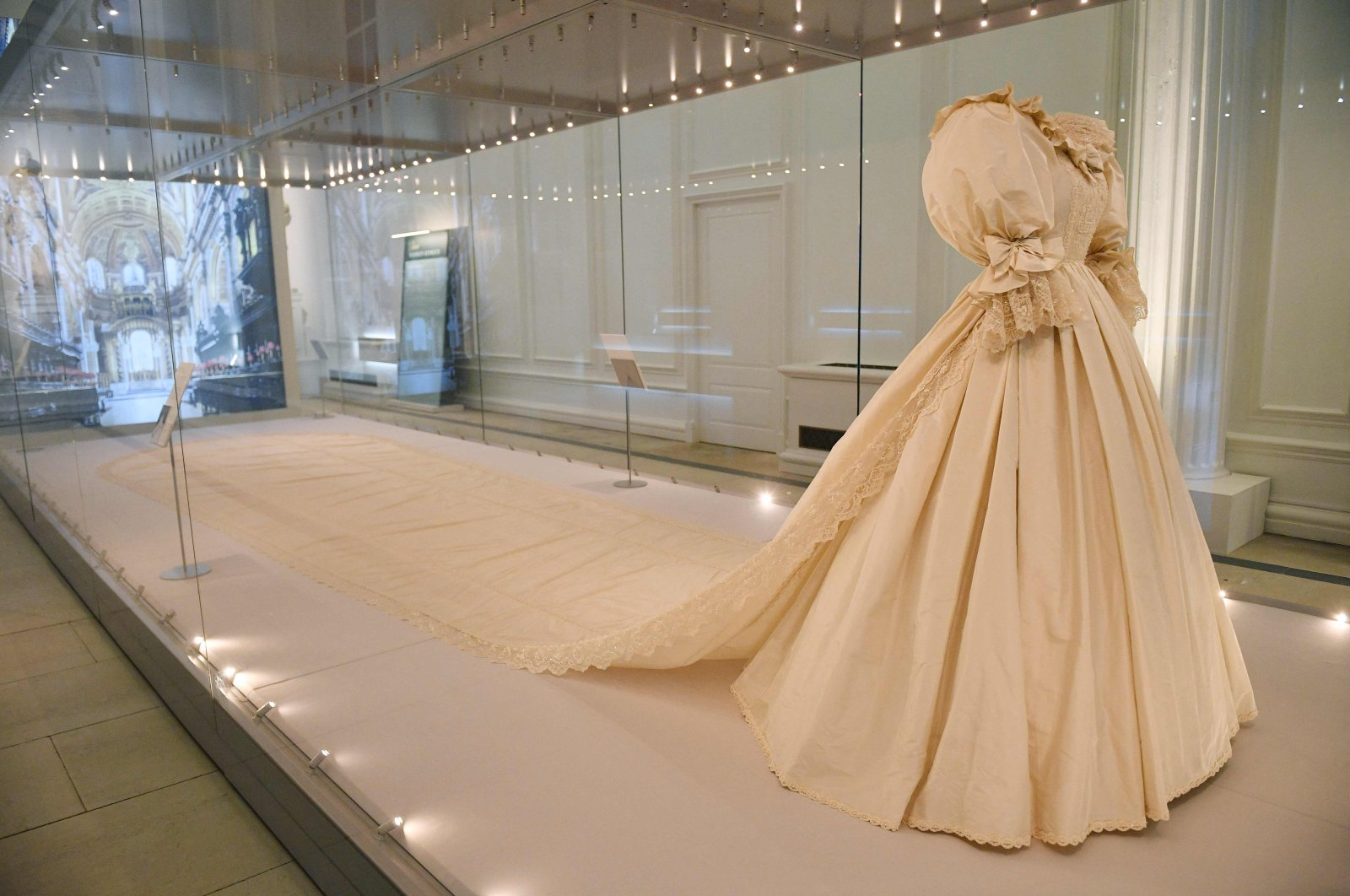 The wedding dress of Diana, Princess of Wales is seen on display at an exhibition entitled 'Royal Style in the Making' at Kensington Palace in London on June 2, 2021. (AFP Photo)