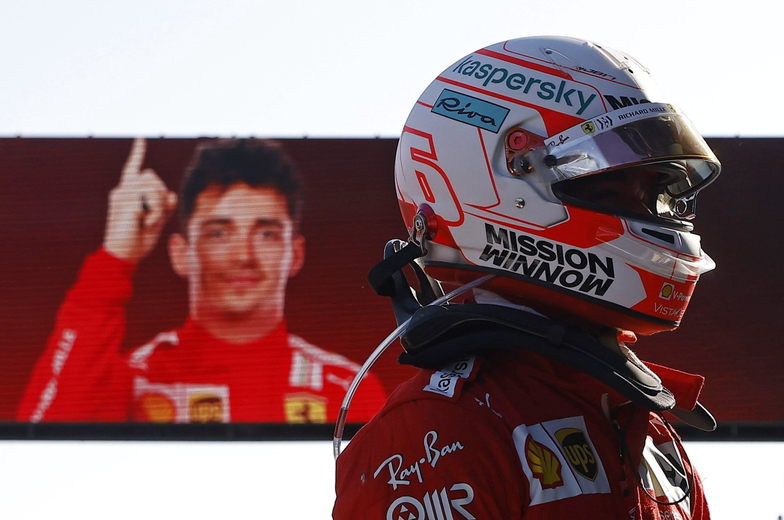 Ferrari's Charles Leclerc after qualifying in pole position in the Azerbaijan Grand Prix, Baku City Circuit, Baku, Azerbaijan, June 5, 2021. (Reuters Photo)