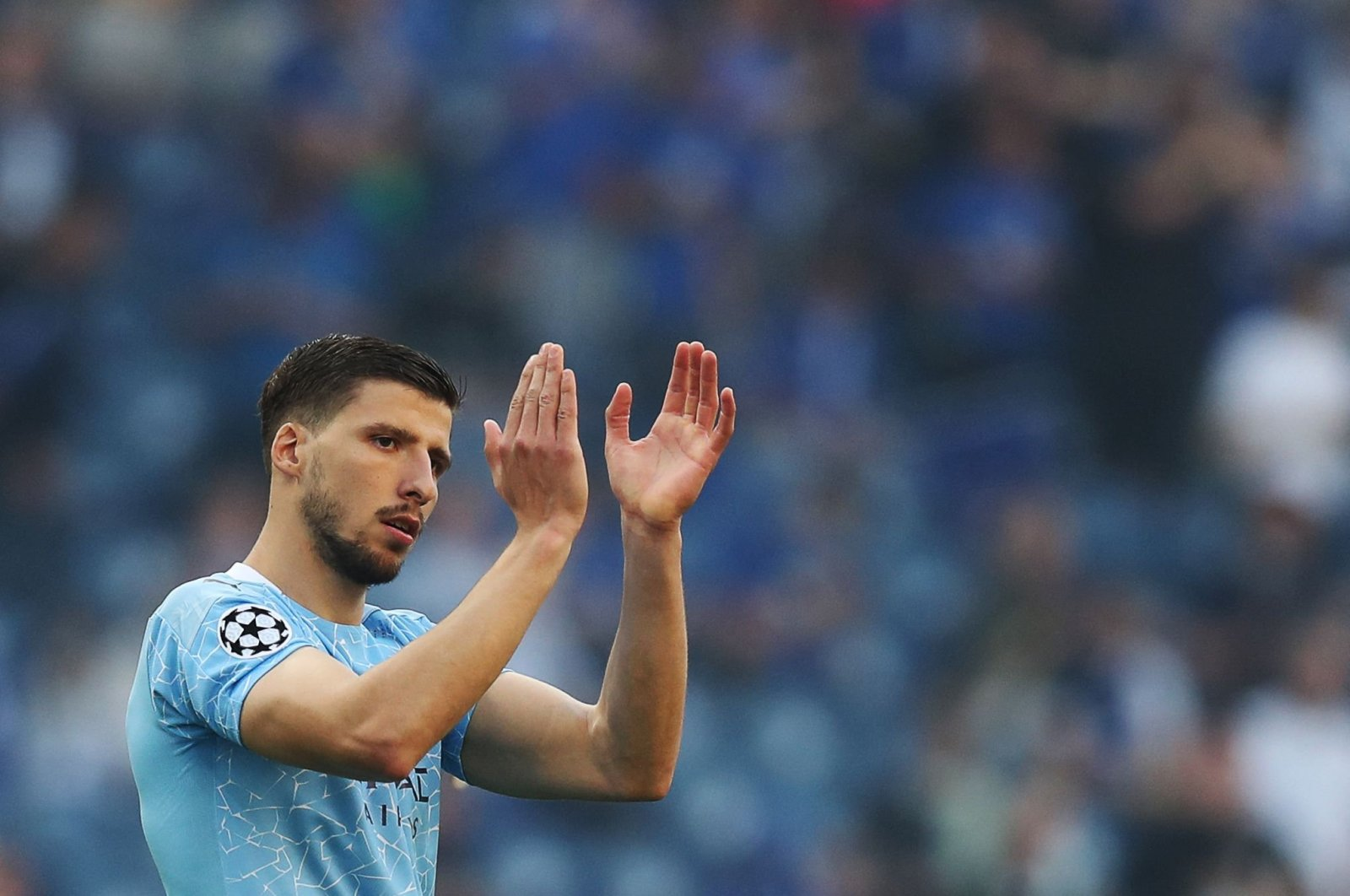 Manchester City's Portuguese defender Ruben Dias gestures before the start of the UEFA Champions League final football match between Manchester City and Chelsea FC at the Dragao stadium in Porto, Portugal, May 29, 2021. (AFP Photo)