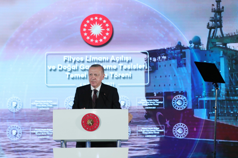 Turkish President Recep Tayyip Erdoğan speaks during the opening ceremony of the Filyos Port in the Black Sea city of Zonguldak, Turkey, June 4, 2021. (Reuters Photo)