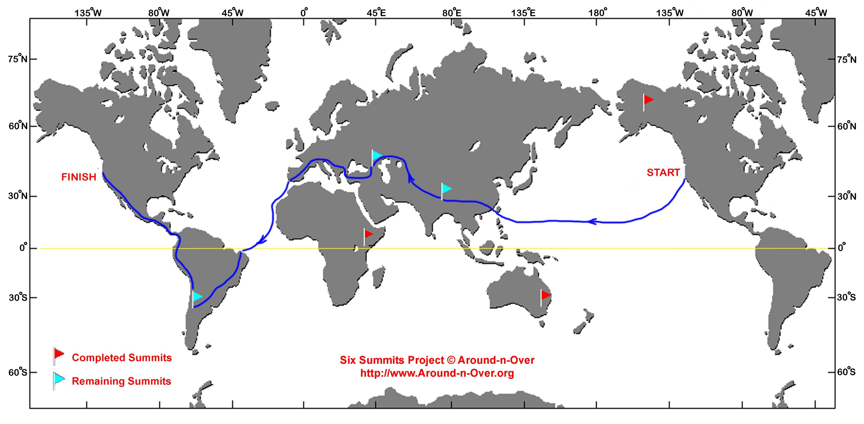 The route for Eruç's Six Summit Project, which includes circumnavigating the globe and scaling the tallest summits on six continents. ( AA Photo)