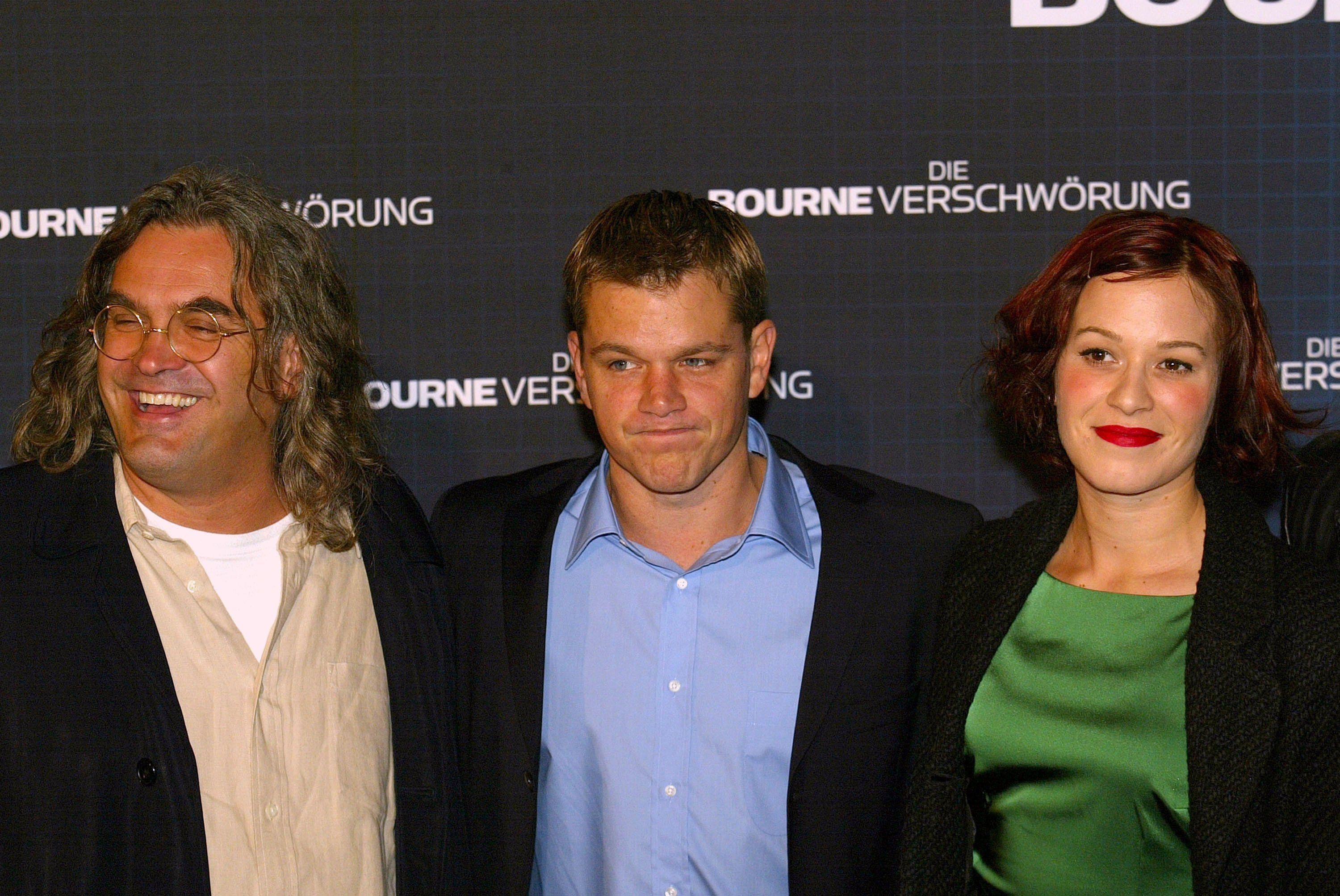 Director Paul Greengrass (L), actor Matt Damon (C) and actress Franka Potente pose for a photo during the premiere of the film 'The Bourne Supremacy' in Berlin, Germany in 2004. (Getty Images)