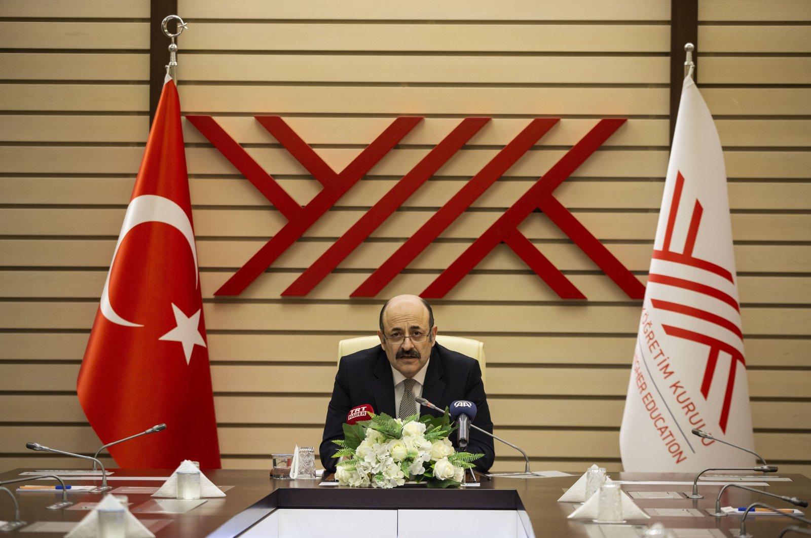 YÖK President Yekta Saraç during a press conference, Ankara, Turkey, Feb. 10, 2021. (AA)