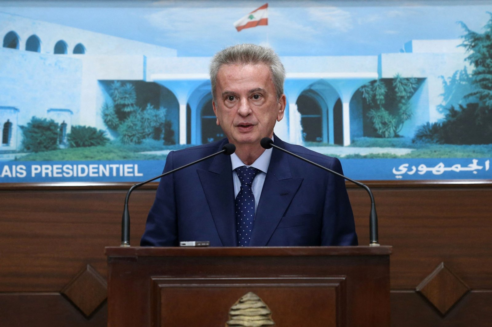 In this file handout photo provided by the Lebanese photo agency Dalati and Nohra on June 3, 2021, Lebanon's Central Bank Governor Riad Salameh addresses the media after a meeting with the country's president at the Baabda presidential palace, east of the capital Beirut, Lebanon. (AFP Photo)