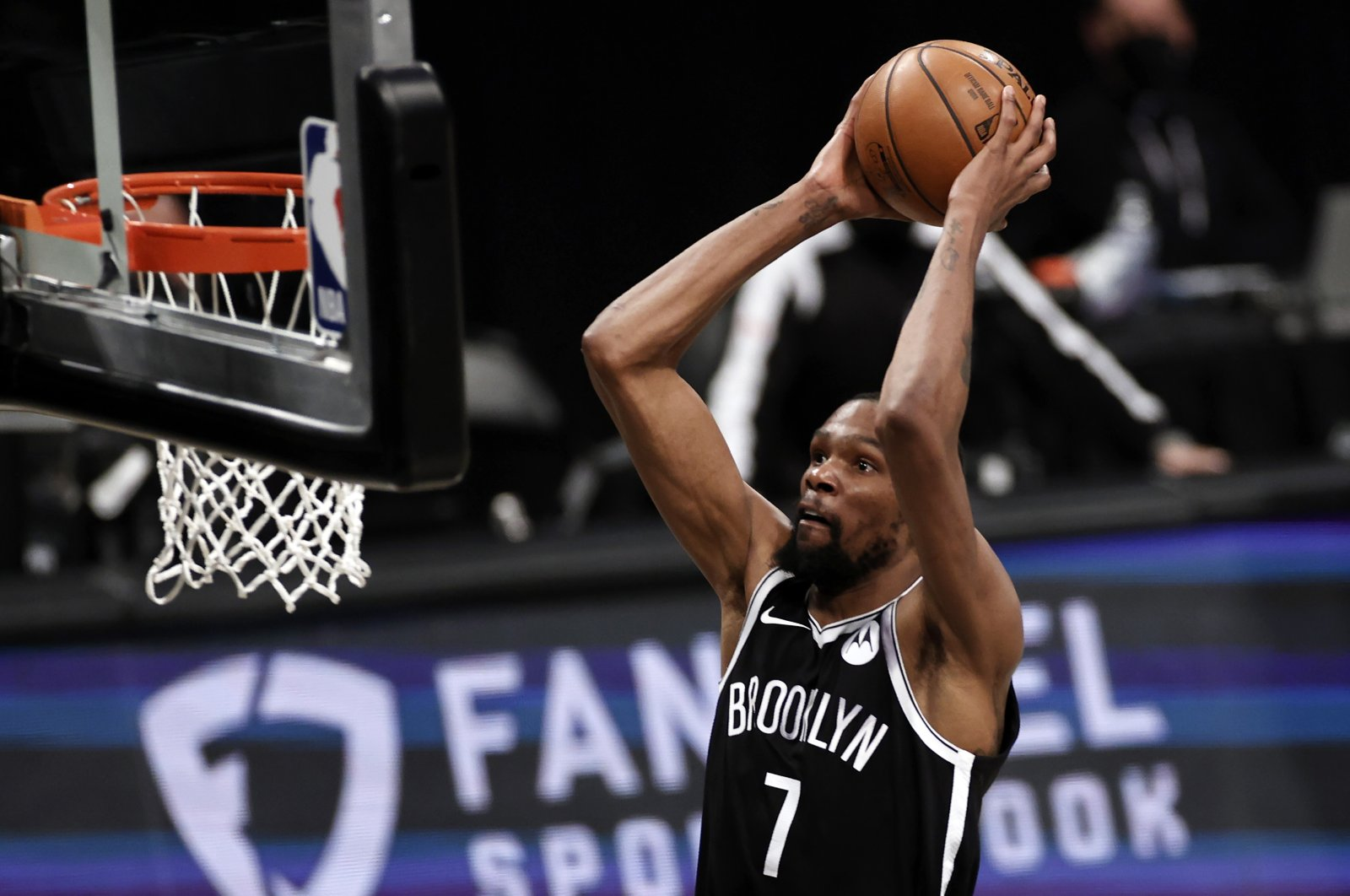 Brooklyn Nets forward Kevin Durant dunks against the Milwaukee Bucks during Game 1 of an NBA basketball second-round playoff series match, New York, U.S., June 5, 2021. (AP Photo)