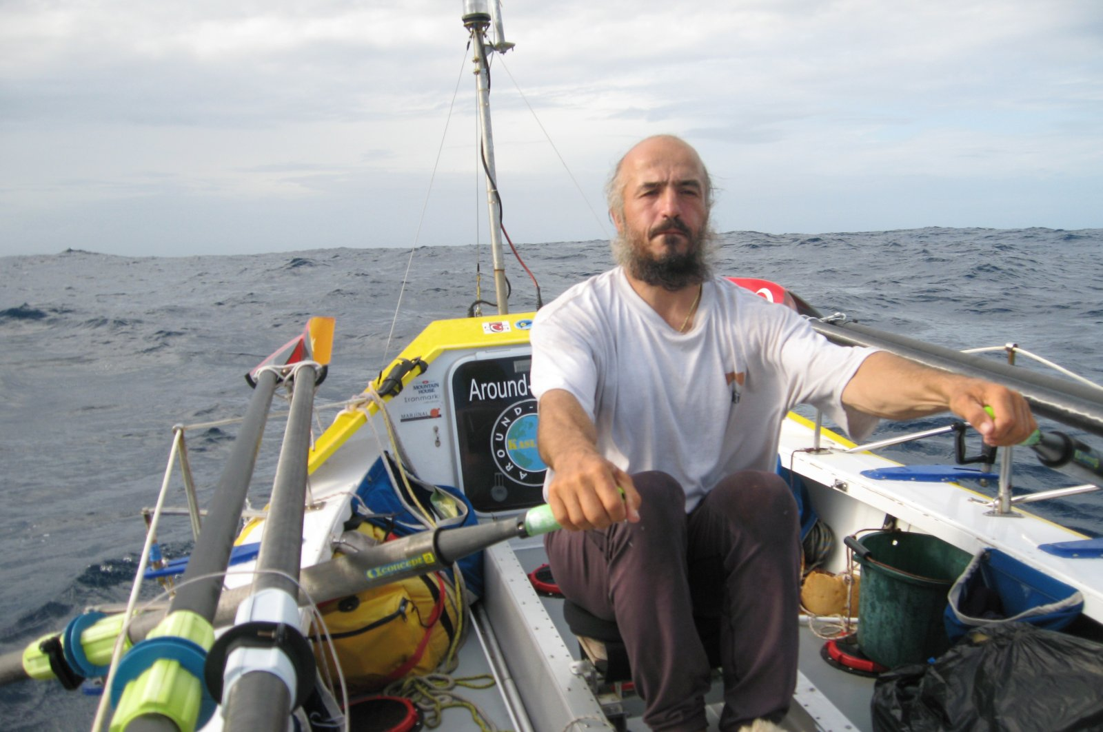 Turkish adventurer Erden Eruç rows his boat in this undated photo made available on June 6, 2021. (AA Photo)