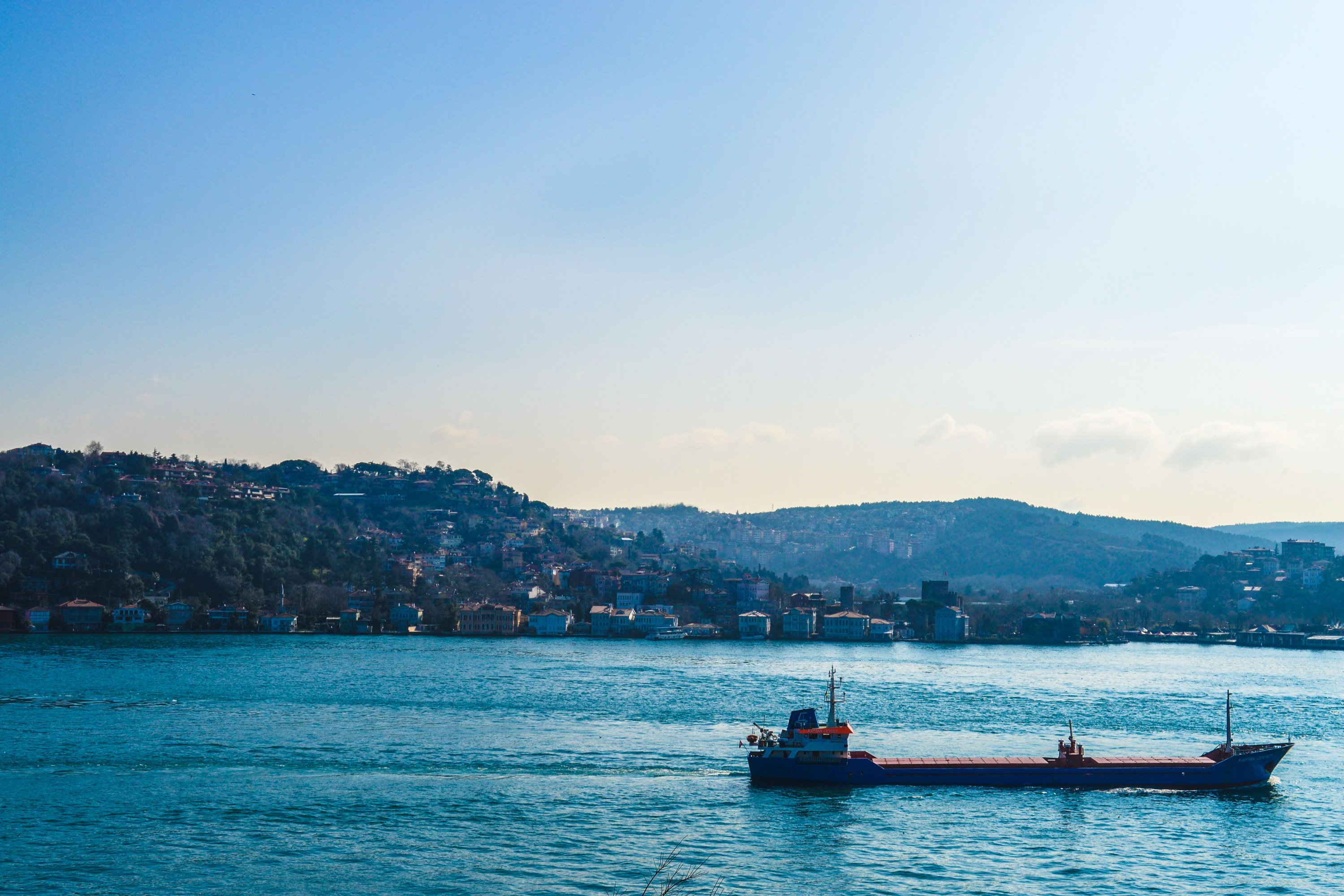 A cargo vessel passes through the Bosporus, Istanbul, Turkey, March 3, 2021. (Photo by Getty Images)