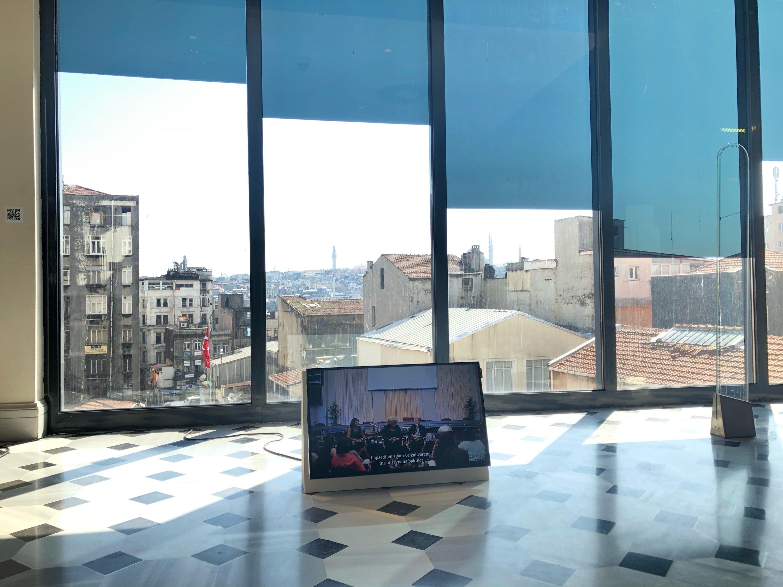 "Sun shines through the windows onto the artwork on display at SALT Galata's ""Scratch and Surface"" exhibition, Istanbul, Turkey. (Photo by Matt Hanson)"