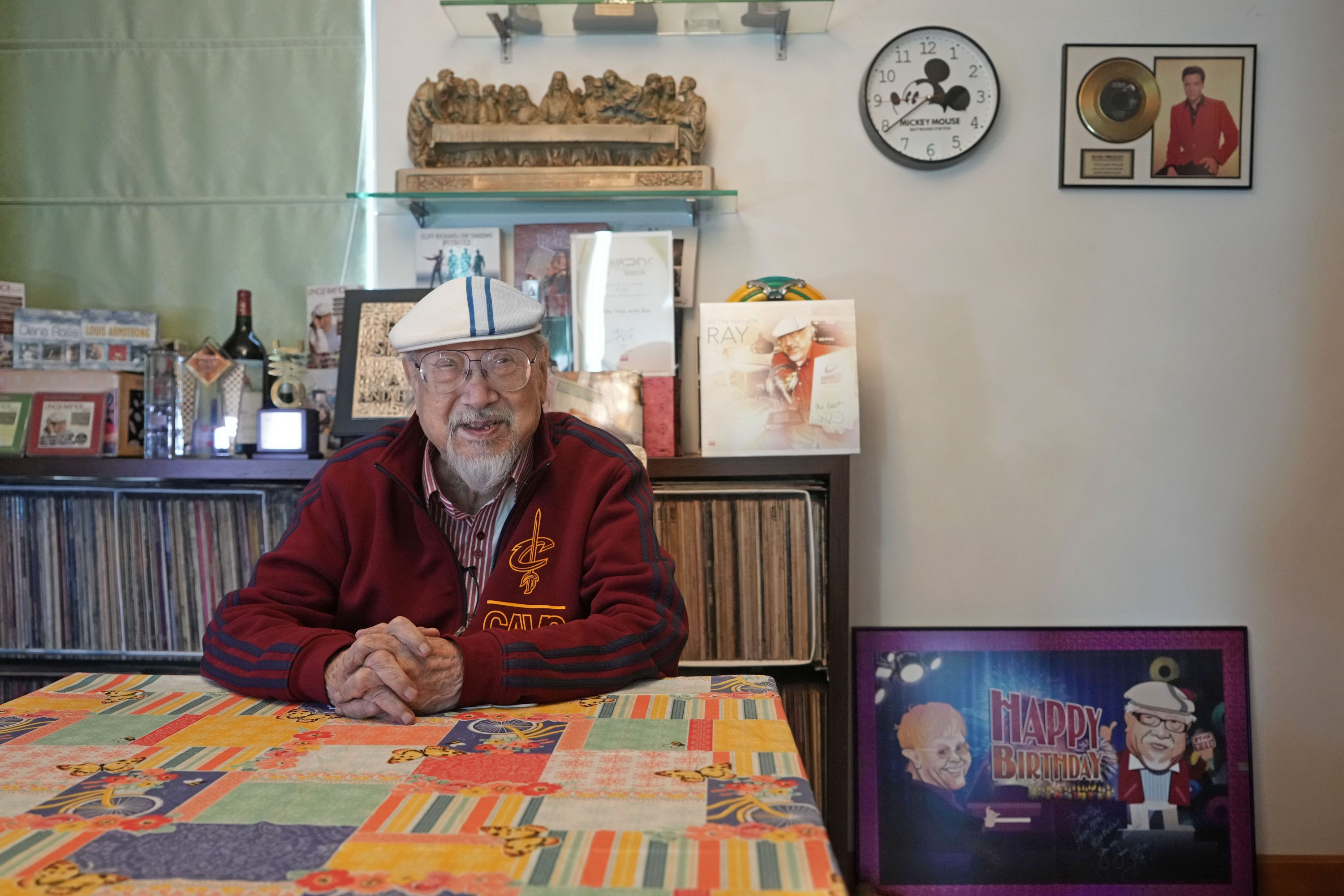 Ray Cordeiro, Hong Kong's oldest DJ, speaks during an interview at his home in Hong Kong, May 27, 2021. (AP Photo)
