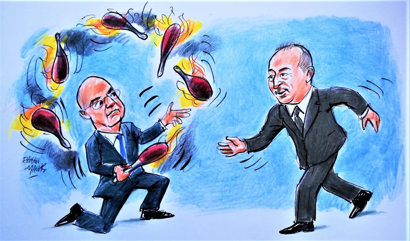 This illustration by Erhan Yalvaç shows Foreign Minister Mevlüt Çavuşoğlu (R) approaching his Greek counterpart Nikos Dendias, who is juggling, and criticizes the ongoing tension between Turkey and Greece.