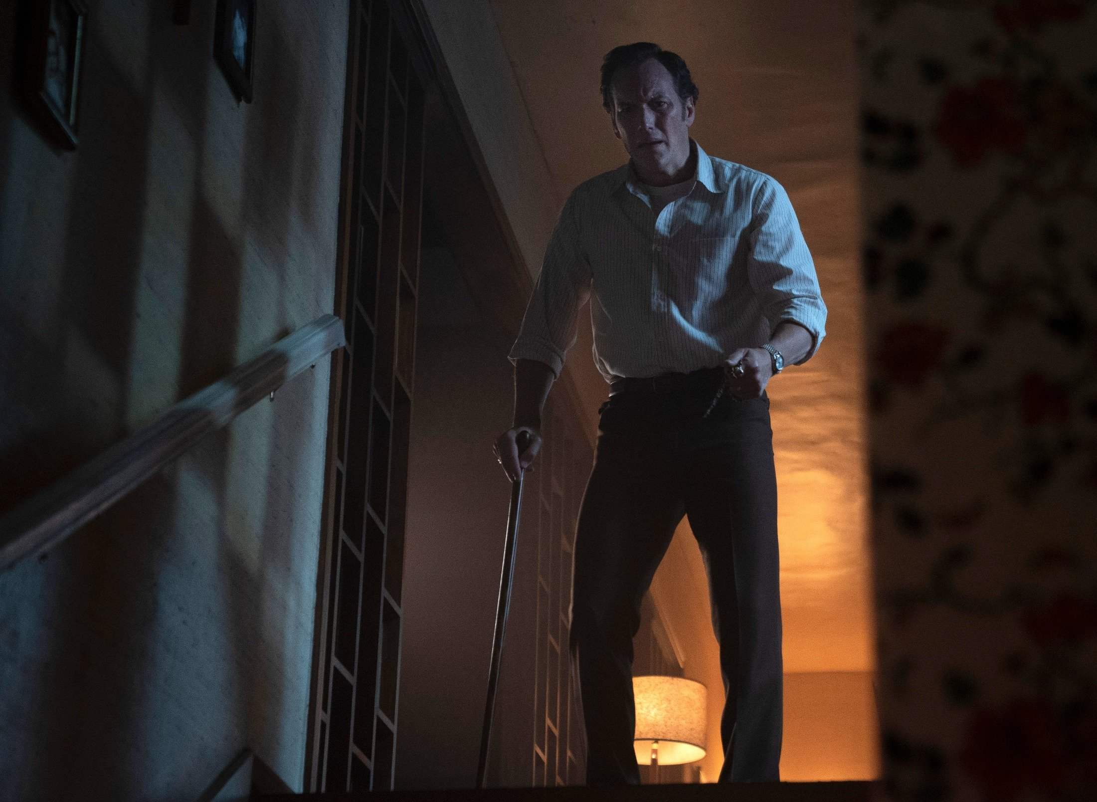 Patrick Wilson leans on a walking stick, in a scene from 'The Conjuring: The Devil Made Me Do It.' (Warner Bros. via AP)