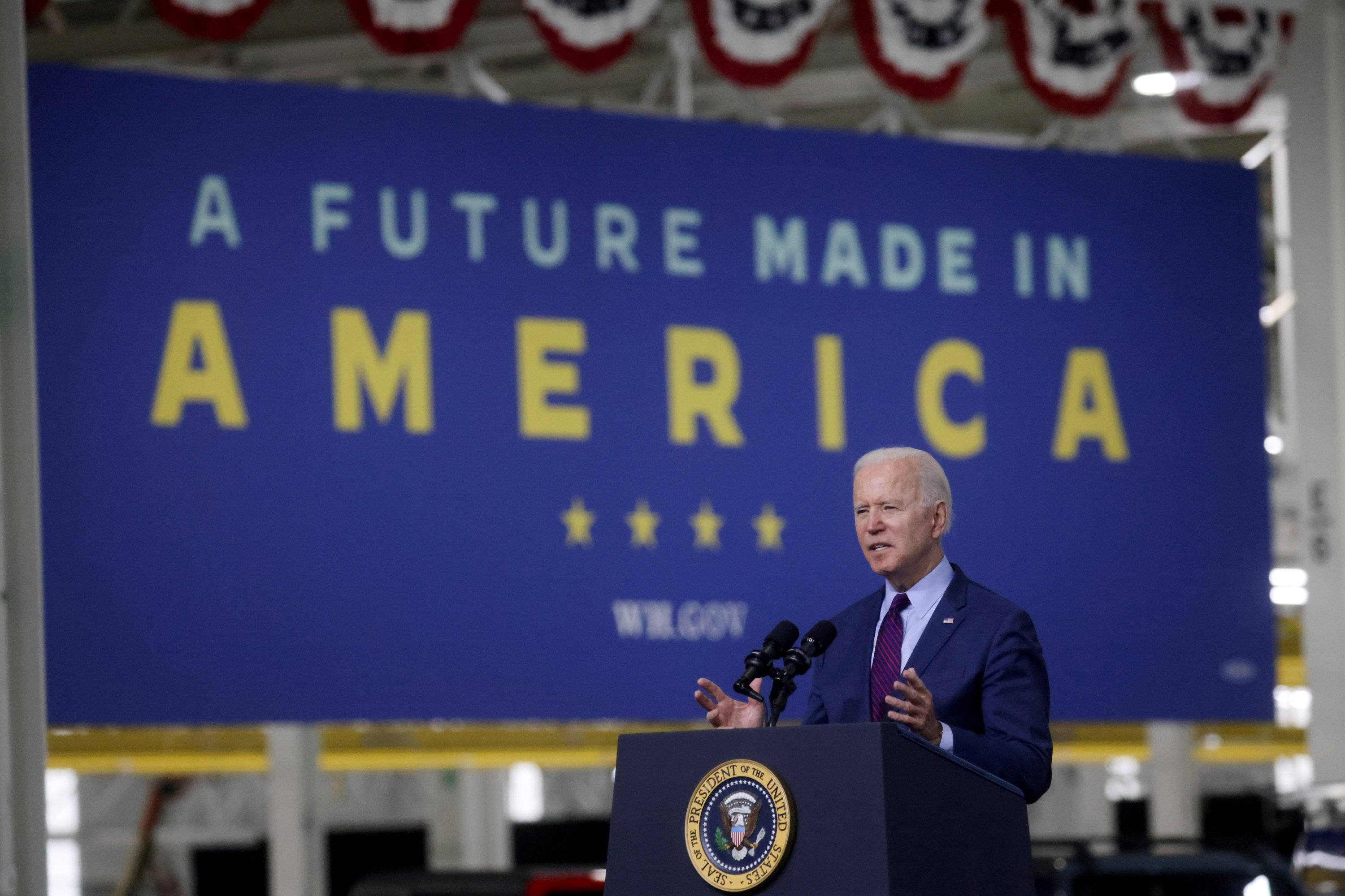 U.S. President Joe Biden delivers remarks after touring the Ford Rouge Electric Vehicle Center in Dearborn, Michigan, U.S., May 18, 2021. (Reuters Photo)
