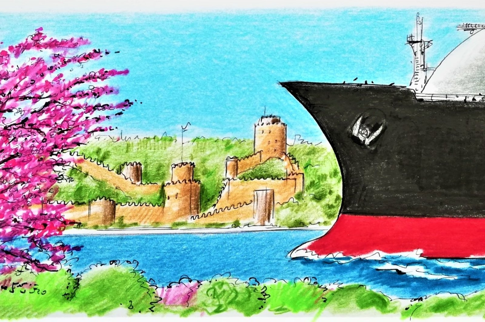 Illustration by Erhan Yalvaç shows a ship passing through the Bosporus as Rumeli Hisarı, an Ottoman-era fortress, is seen background on the European side of Turkey's metropolis Istanbul.