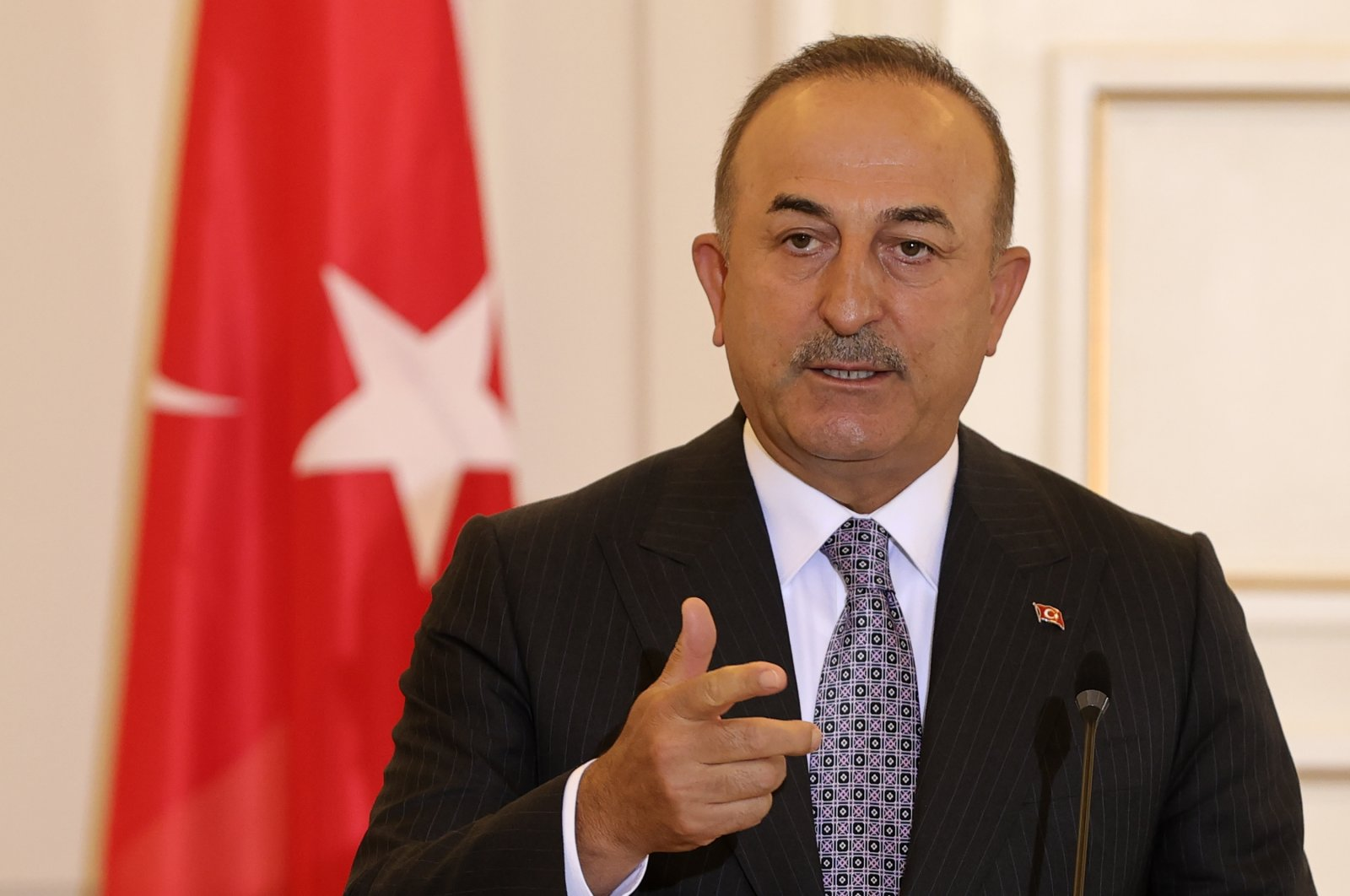 Foreign Minister Mevlüt Çavuşoğlu speaks at a joint news conference with Greek counterpart Nikos Dendias in Athens, Greece, May 31, 2021. (AA File Photo)