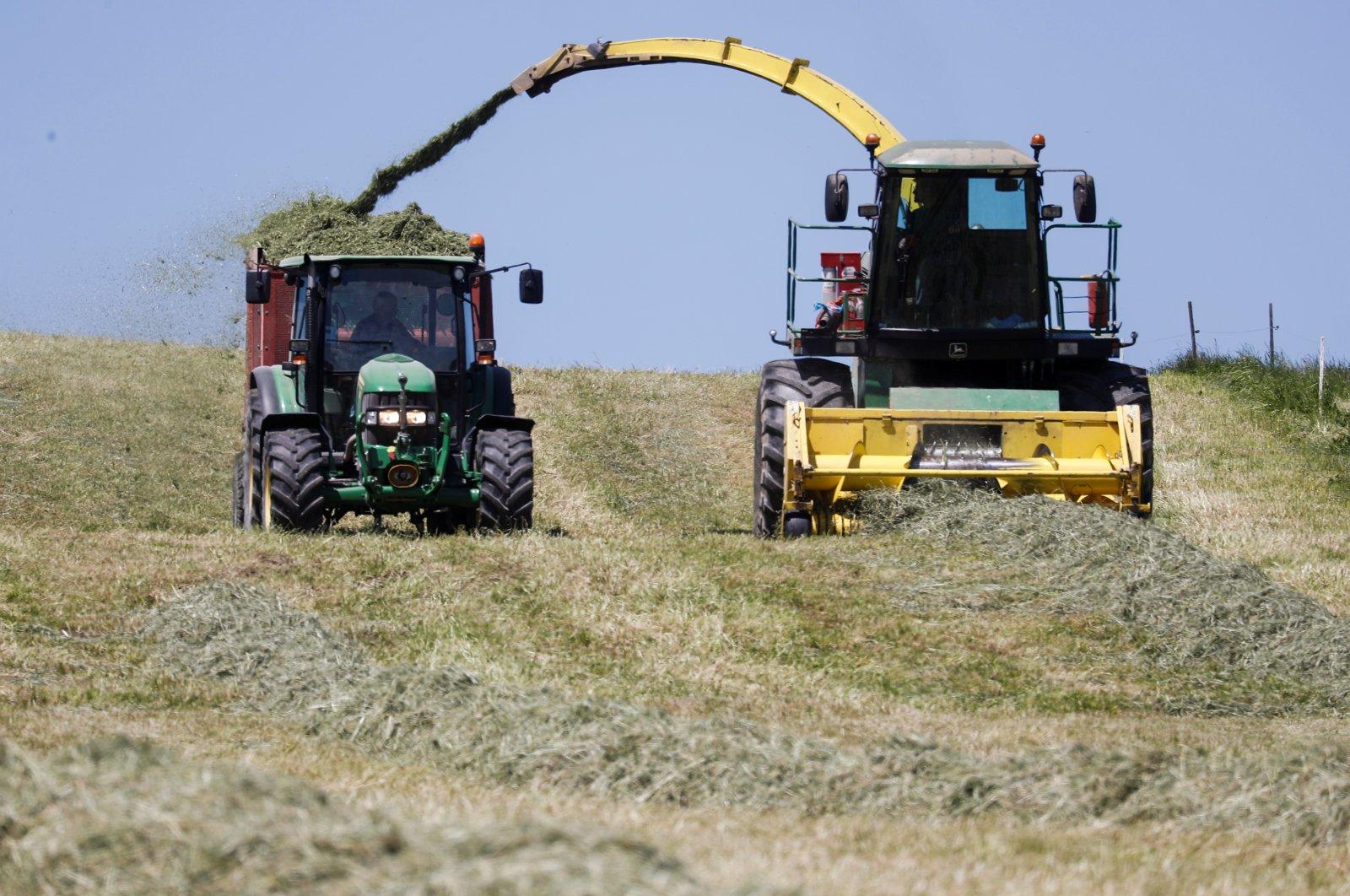 A farmer uses a machine to load cut hay on a trailer near Birmensdorf, Switzerland, June 1, 2021 (Reuters Photo)