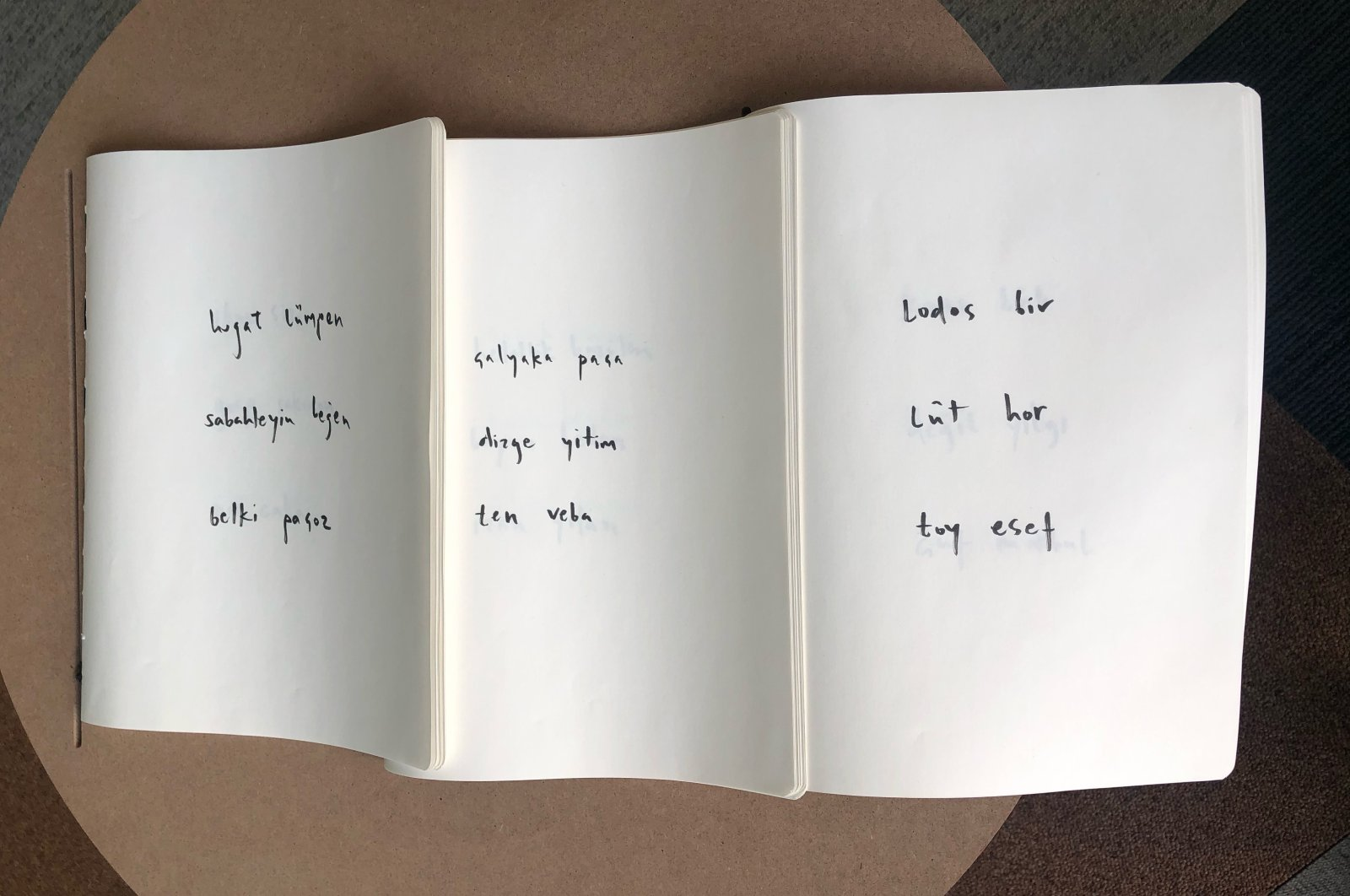 """A large book with several words written on white pages is on display at SALT Galata's """"Scratch and Surface"""" exhibition, Istanbul, Turkey. (Photo by Matt Hanson)"""