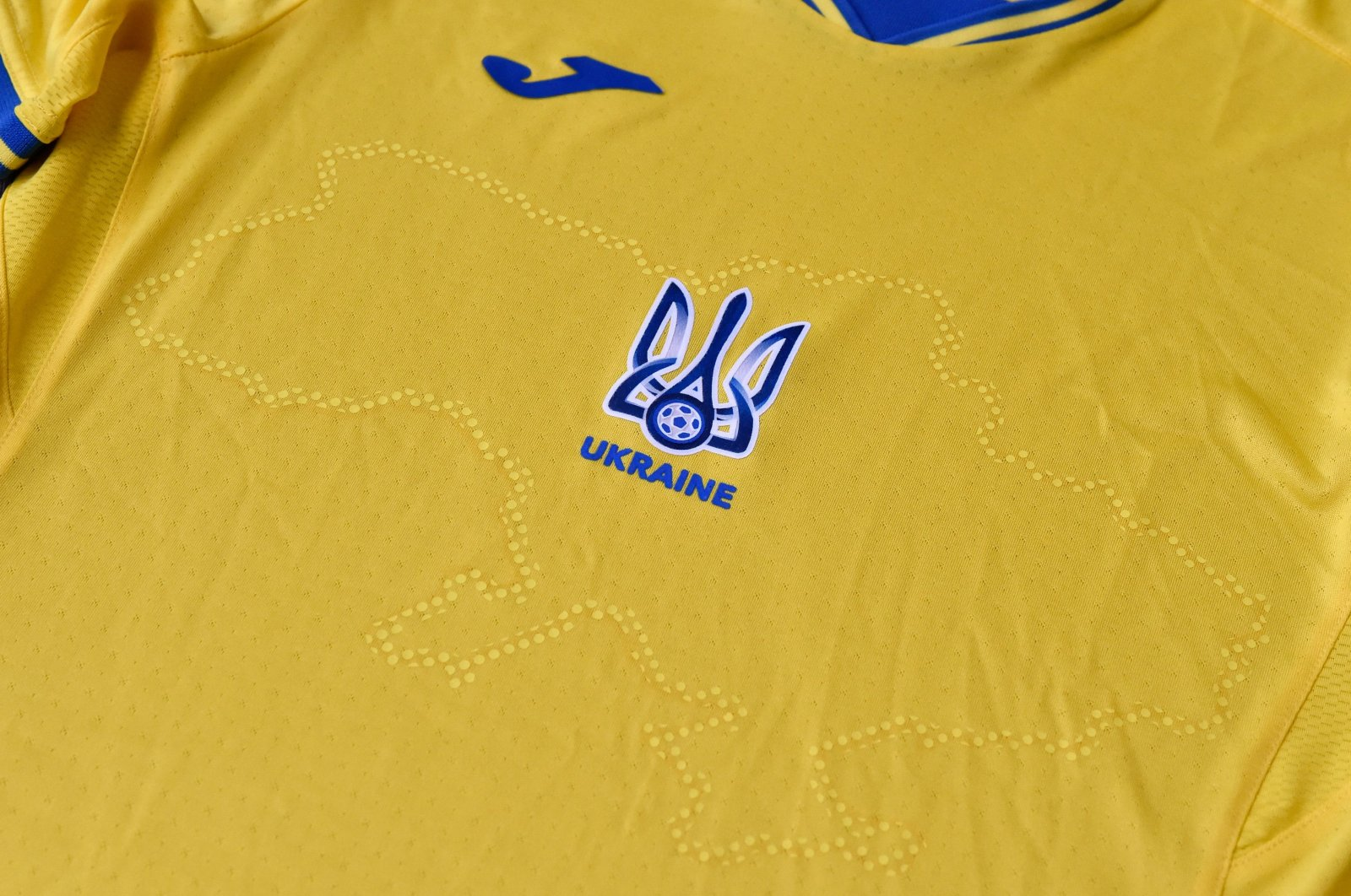 The Ukrainian national football team's Euro 2020 jersey, featuring a map of the country that includes the Russian-annexed Crimea and nationalist slogans, is seen in Kyiv, Ukraine, June 6, 2021.