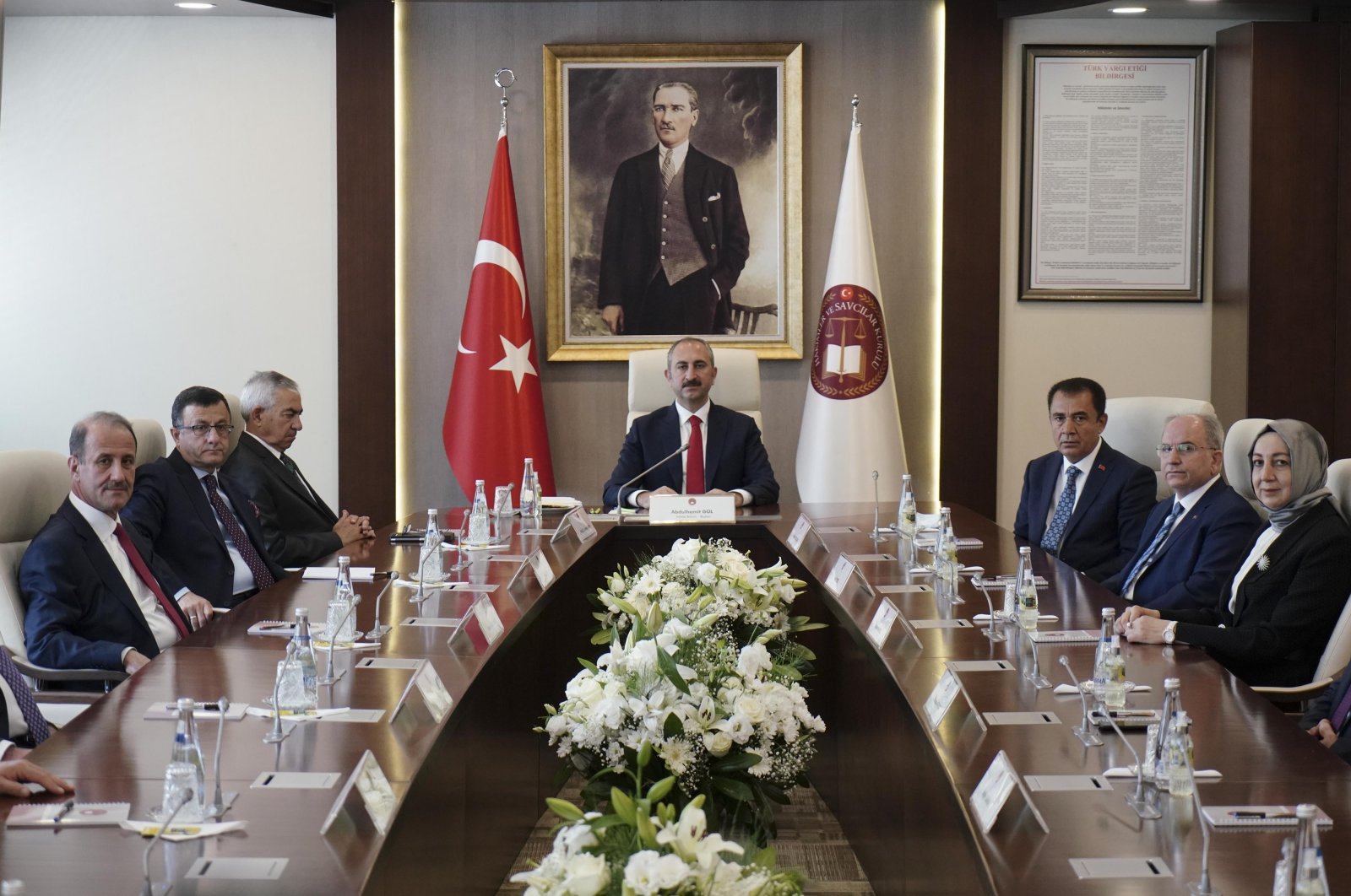 Abdulhamit Gül, Turkey's justice minister and head of the Board of Judges and Prosecutors (HSK), attends the HSK meeting in Ankara, Turkey, June 7, 2021. (DHA Photo)