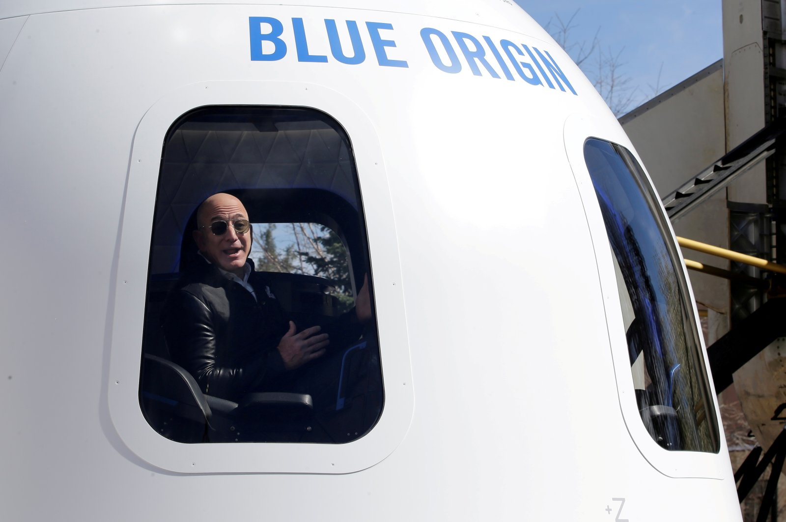 Amazon and Blue Origin founder Jeff Bezos addresses the media about the New Shepard rocket booster and Crew Capsule mockup at the 33rd Space Symposium in Colorado Springs, Colorado, U.S., April 5, 2017. (Reuters Photo)