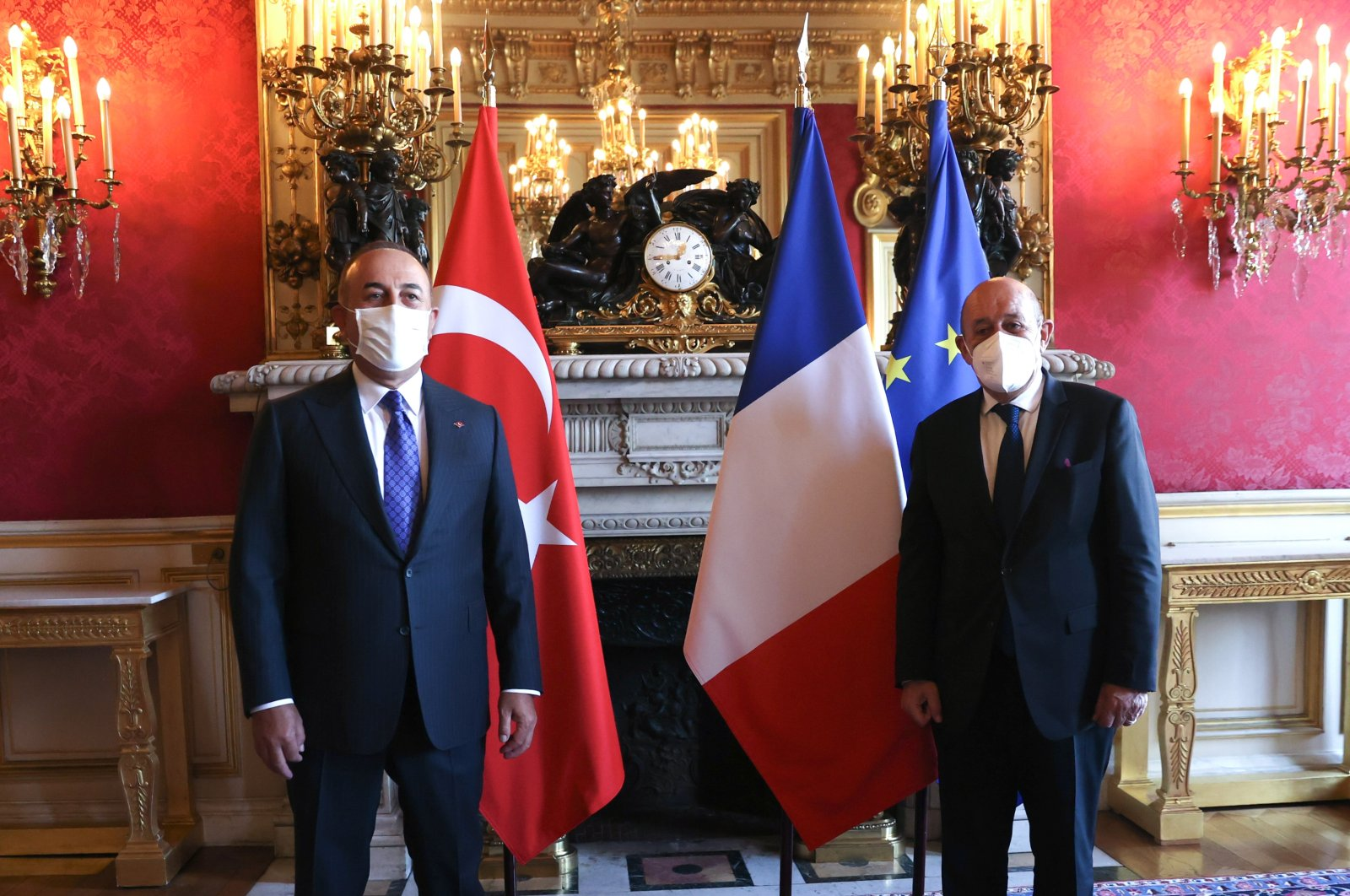Foreign Minister Mevlüt Çavuşoğlu (L) meets with his French counterpartJean-Yves Le Drian in Paris, France, June 7, 2021. (AA Photo)