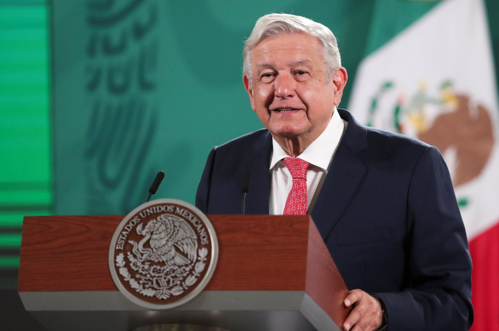 Mexico's President Andres Manuel Lopez Obrador attends a news conference on the results of the midterm election, at the National Palace in Mexico City, Mexico June 7, 2021. (Reuters Photo)