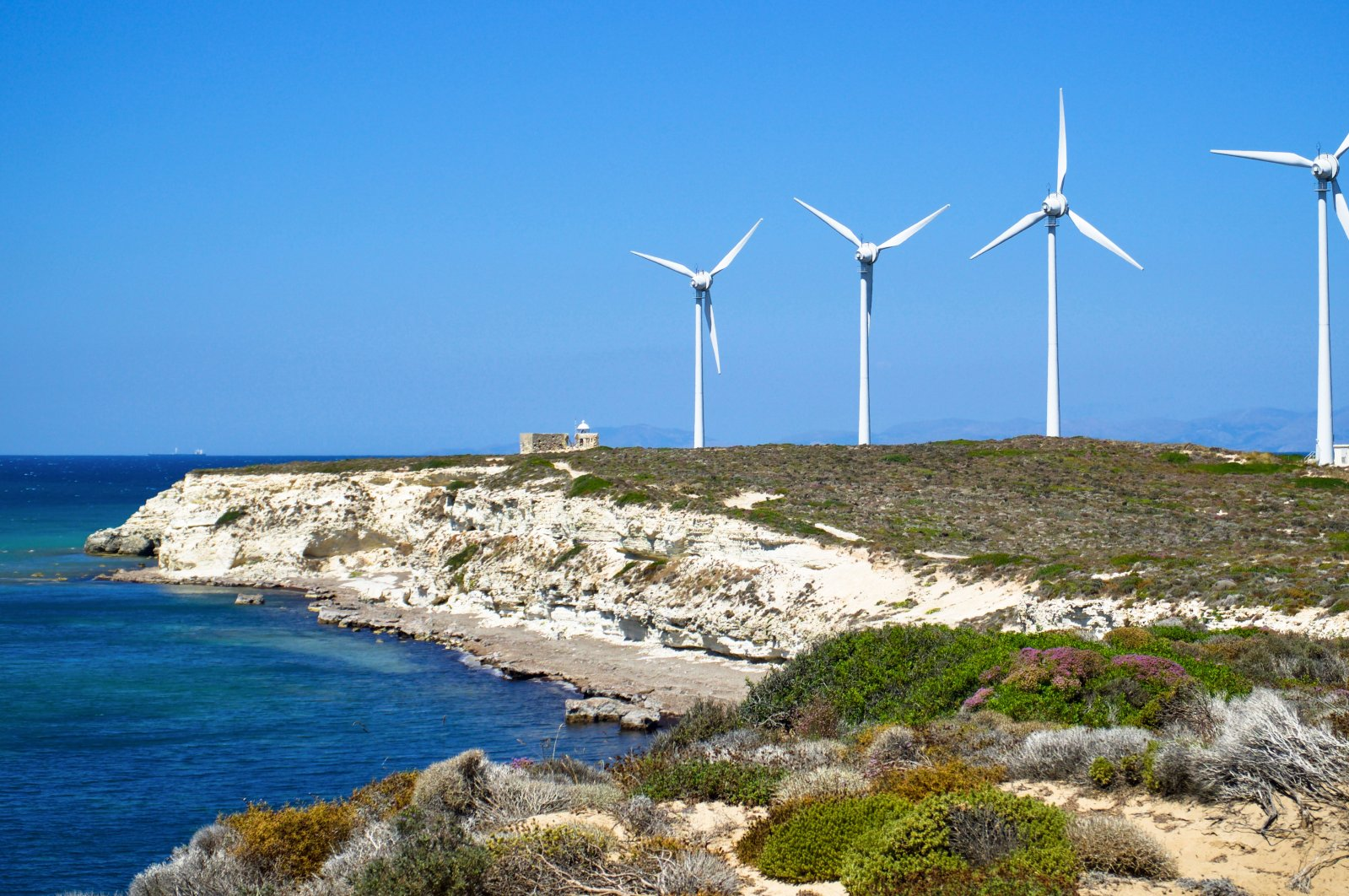 Wind turbines seen in a wind energy farm in this undated file photo, Bozcaada, Çanakkale, northwestern Turkey. (Shutterstock Photo)