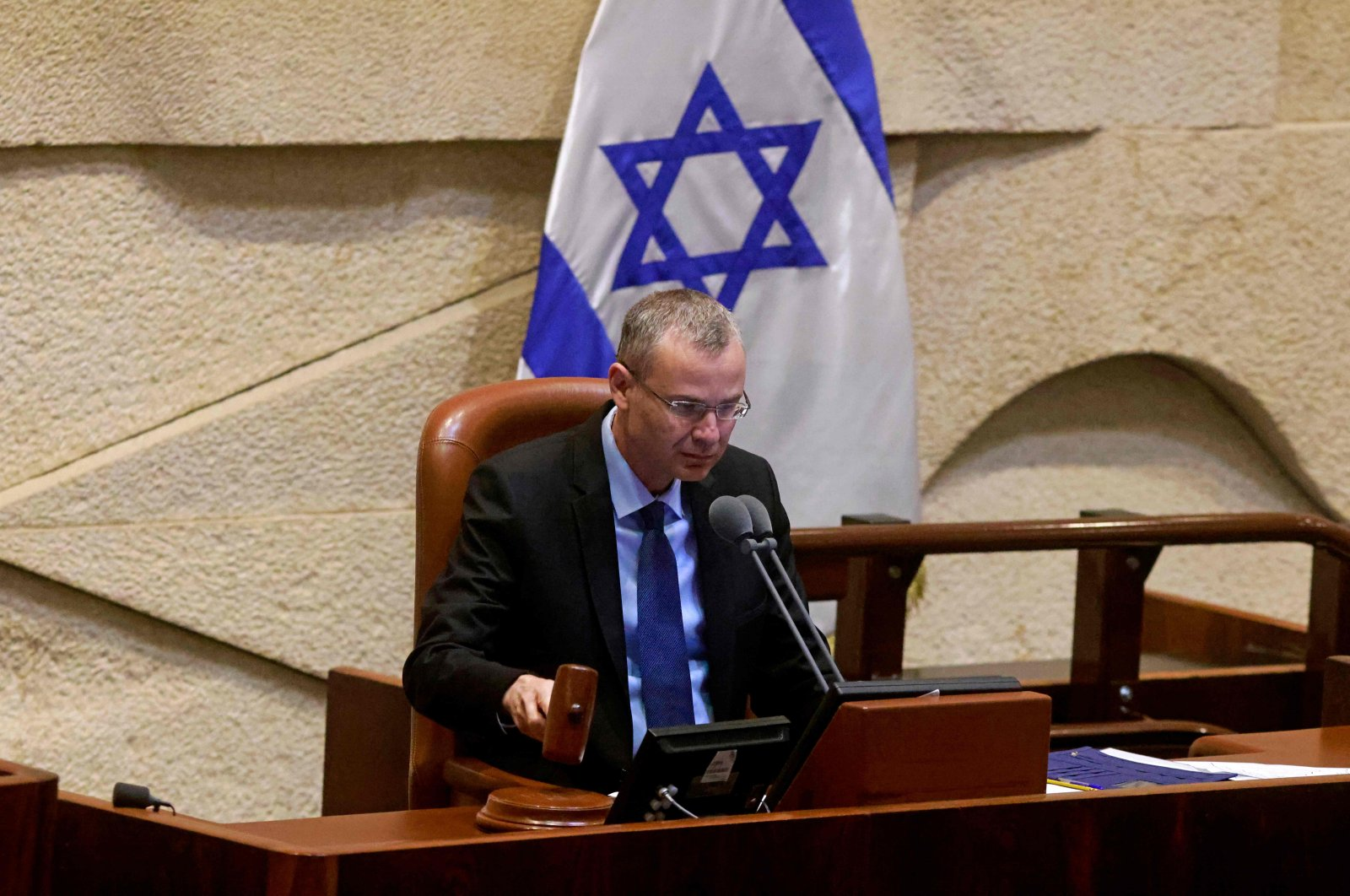 Knesset Speaker Yariv Levin gives a statement on the coalition deal ahead of a confidence vote on the new government, in Jerusalem, Israel, June 7, 2021. (AFP Photo)