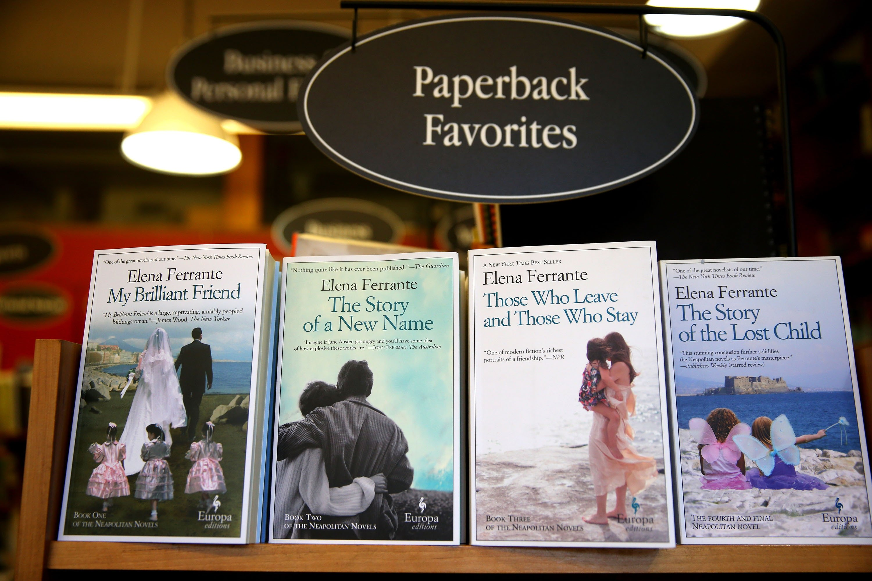 Elena Ferrante's 'Neopolitan Novels' series stands on displayatat theHarvard Book Store in Cambridge, Massachusetts, U.S.,April 8, 2016. (Getty Images)