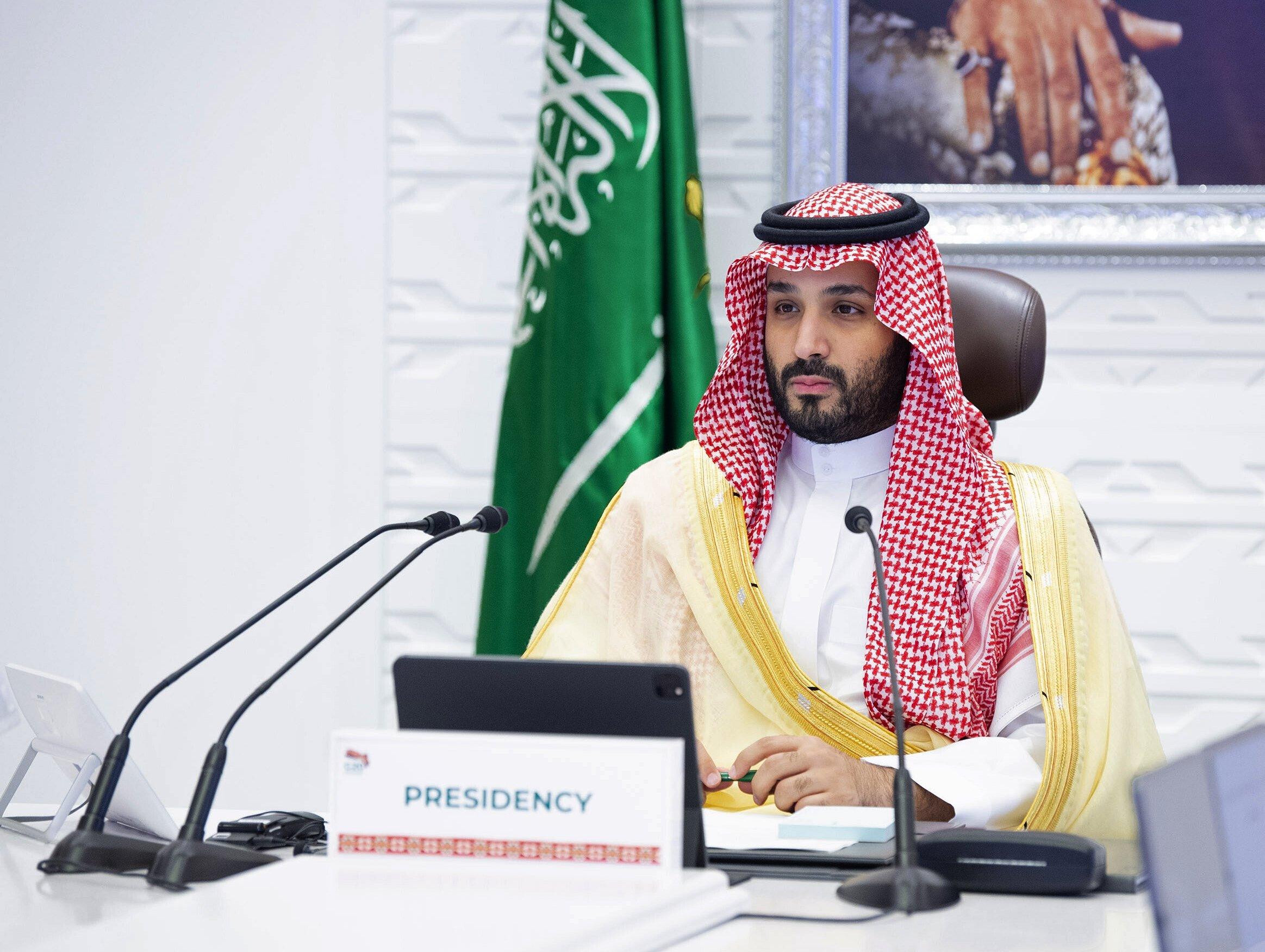 Saudi Arabia's Crown Prince Mohammed bin Salman (MBS) attends a virtual G-20 summit held via videoconference, Riyadh, Saudi Arabia, Nov. 22, 2020. (AP Photo)