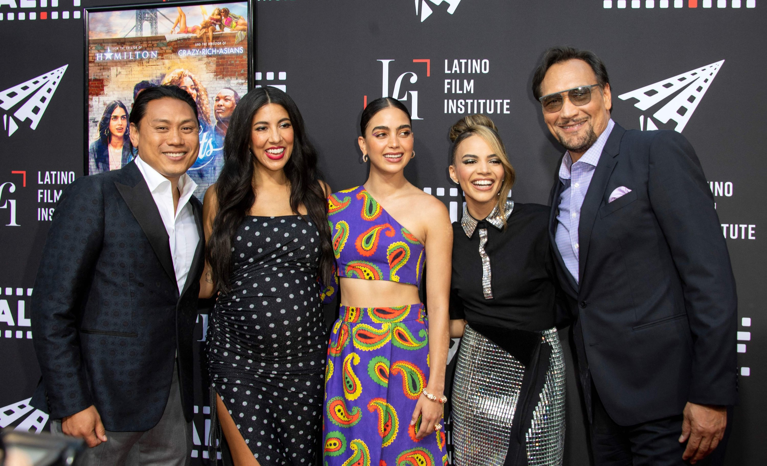From left to right, Director Jon M. Chu, Actors Stephanie Beatriz, Melissa Barrera, Leslie Grace and Jimmy Smits attendthe Los Angeles Latino International Film Festival (LALIFF) special preview screening of 'In The Heights' at the TCL Chinese Theater in Hollywood, California, U.S., June 4, 2021. (AFP Photo)