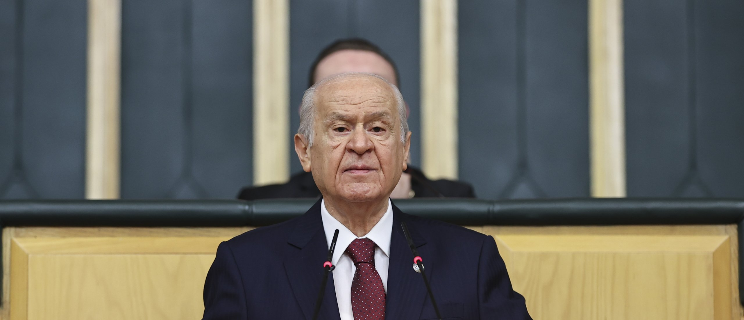 Nationalist Movement Party (MHP) Chair Devlet Bahçeli speaks at his party's group meeting in the capital Ankara, Turkey, June 8, 2021. (AA Photo)