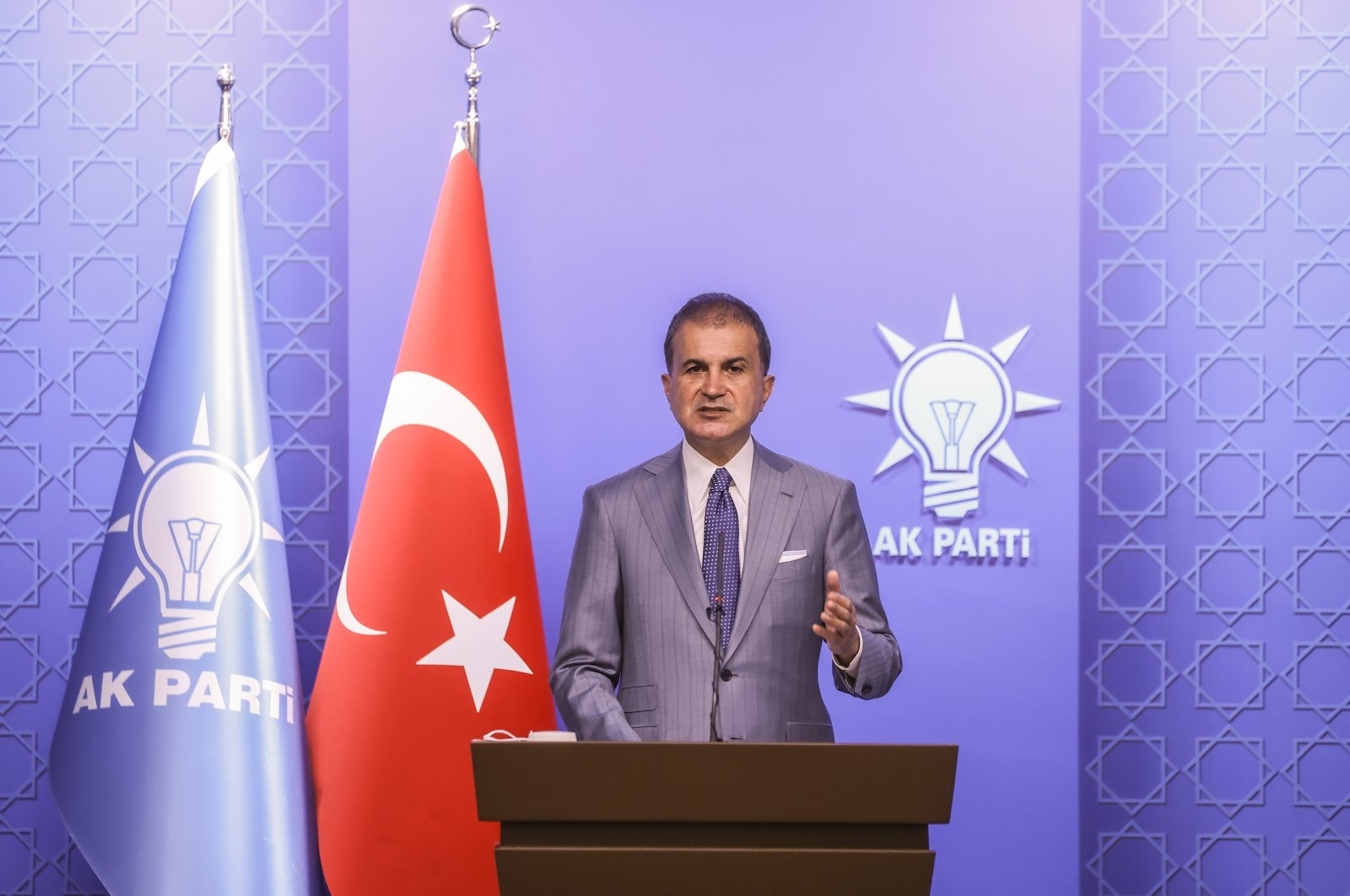 Turkish government AK Party spokesperson Ömer Çelik speaks to reporters following an executive meeting at the party headquarters in Ankara, Monday, June 7, 2021. (AA Photo)