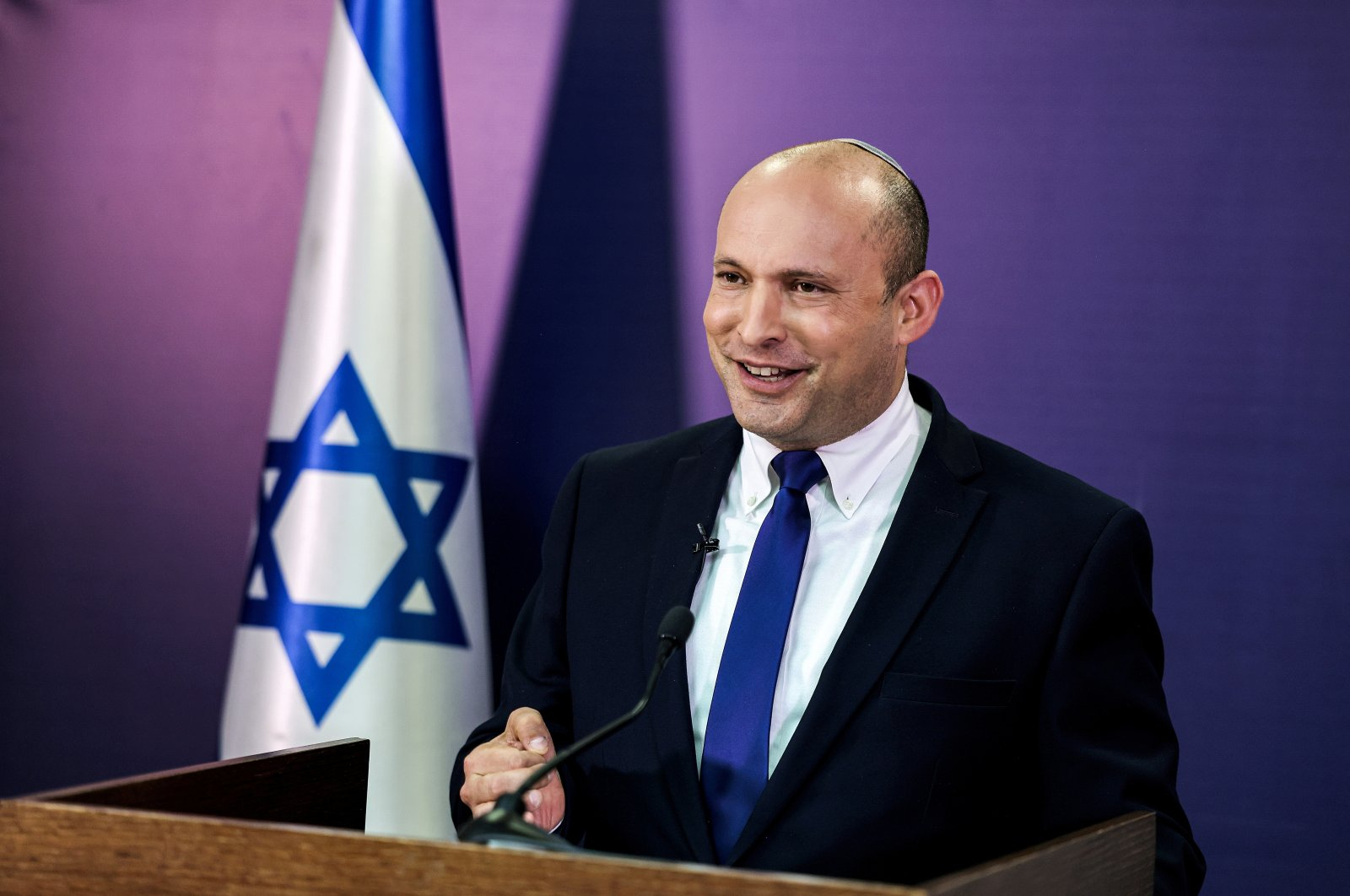 Naftali Bennett, Israeli Parliament member from the Yamina party, gives a statement at parliament, West Jerusalem, Israel, June 6, 2021. (Reuters Photo)