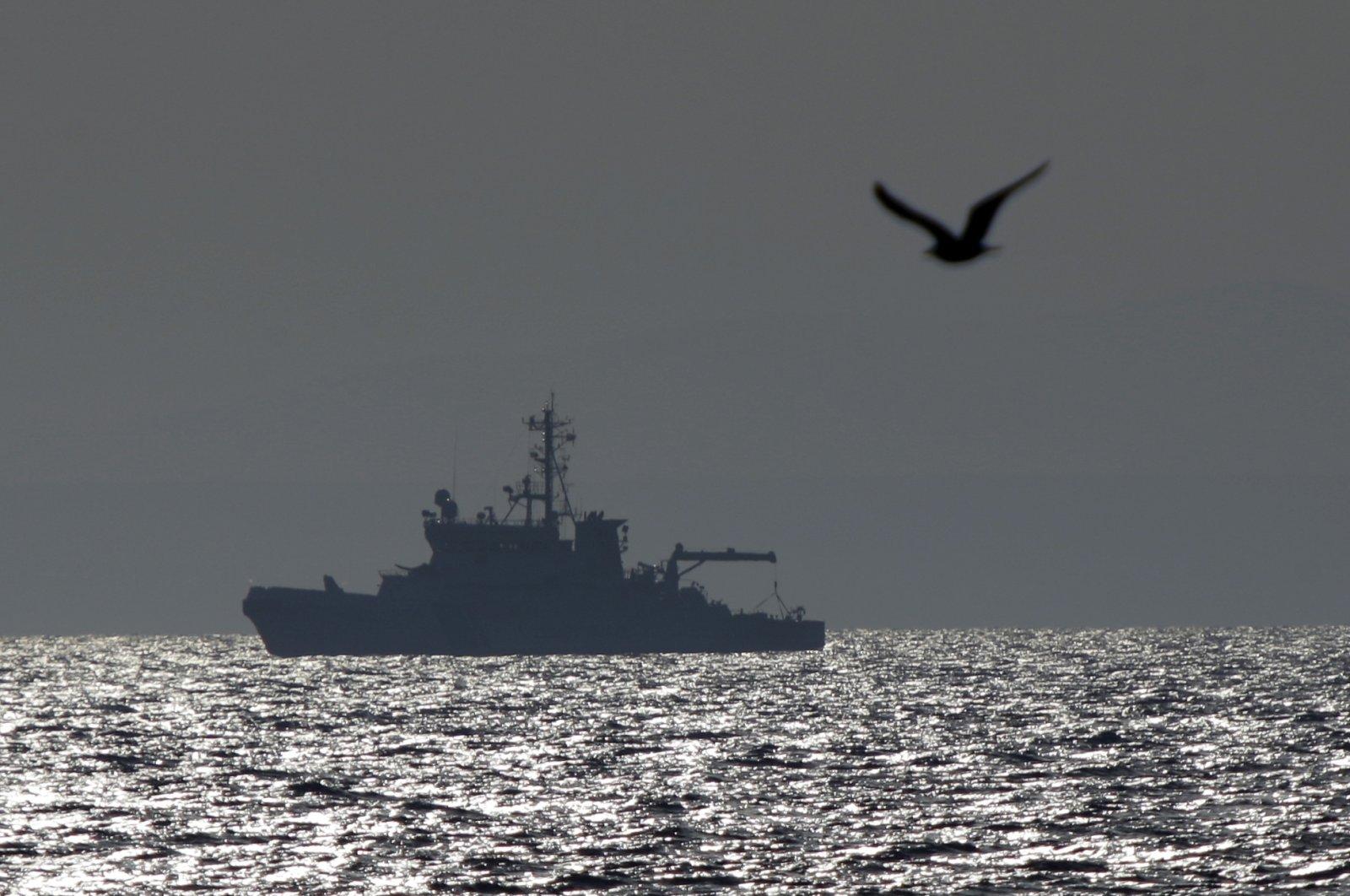 EU Frontex vessel Merikarhu patrols the Aegean Sea, between the eastern Greek Island of Agathonisi and the nearby Turkish shores, Feb. 29, 2016.  (AP File Photo)