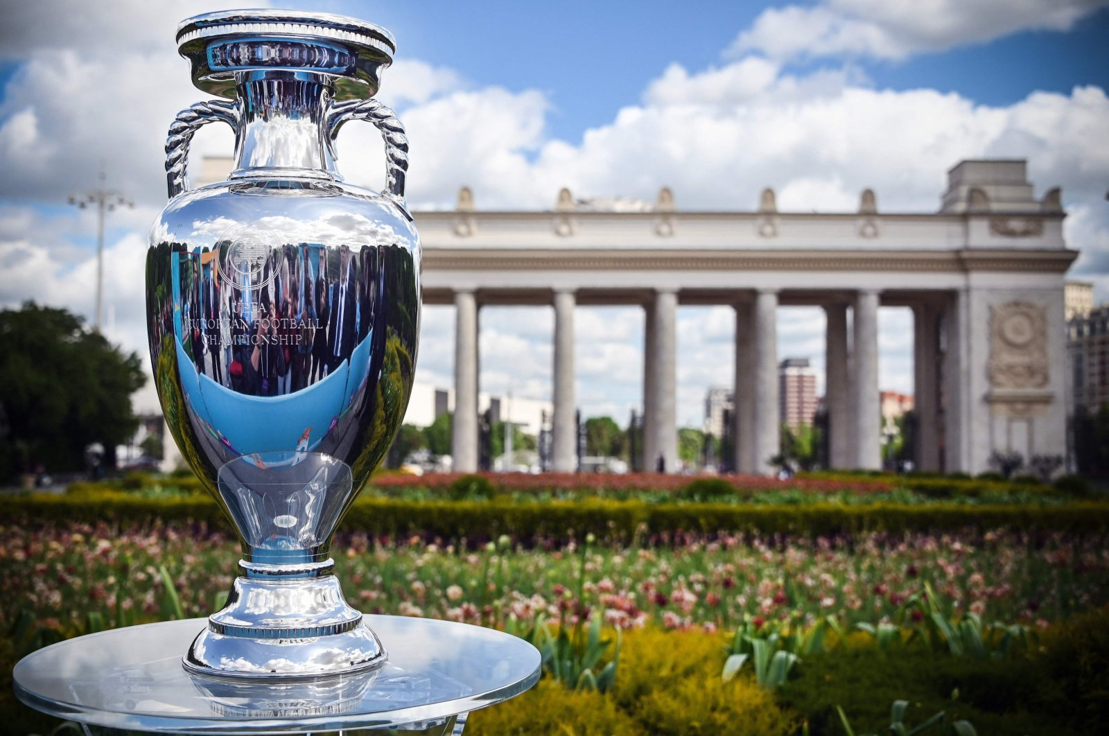 The UEFA European Football Championship trophy pictured at the Gorky Park in Moscow, Russia, May 24, 2021. (AFP Photo)