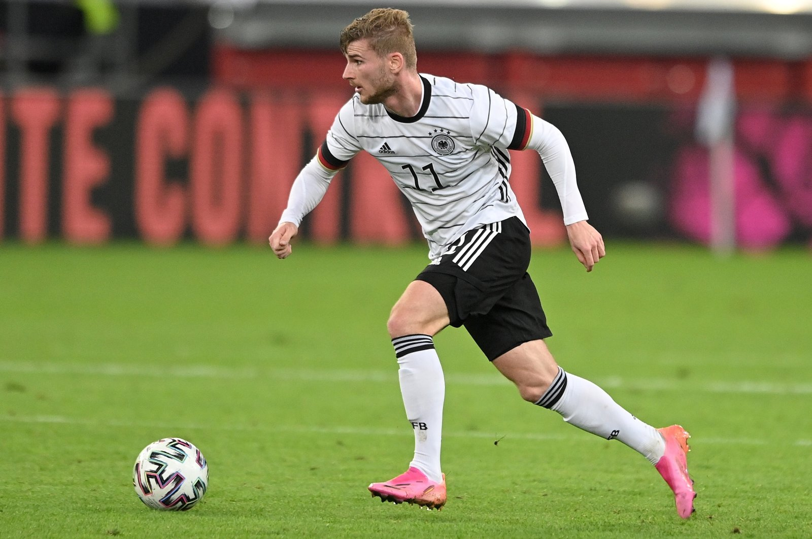 Germany's Timo Werner in action during the International friendly against Latvia in Duesseldorf, Germany, June 7, 2021. (EPA Photo)