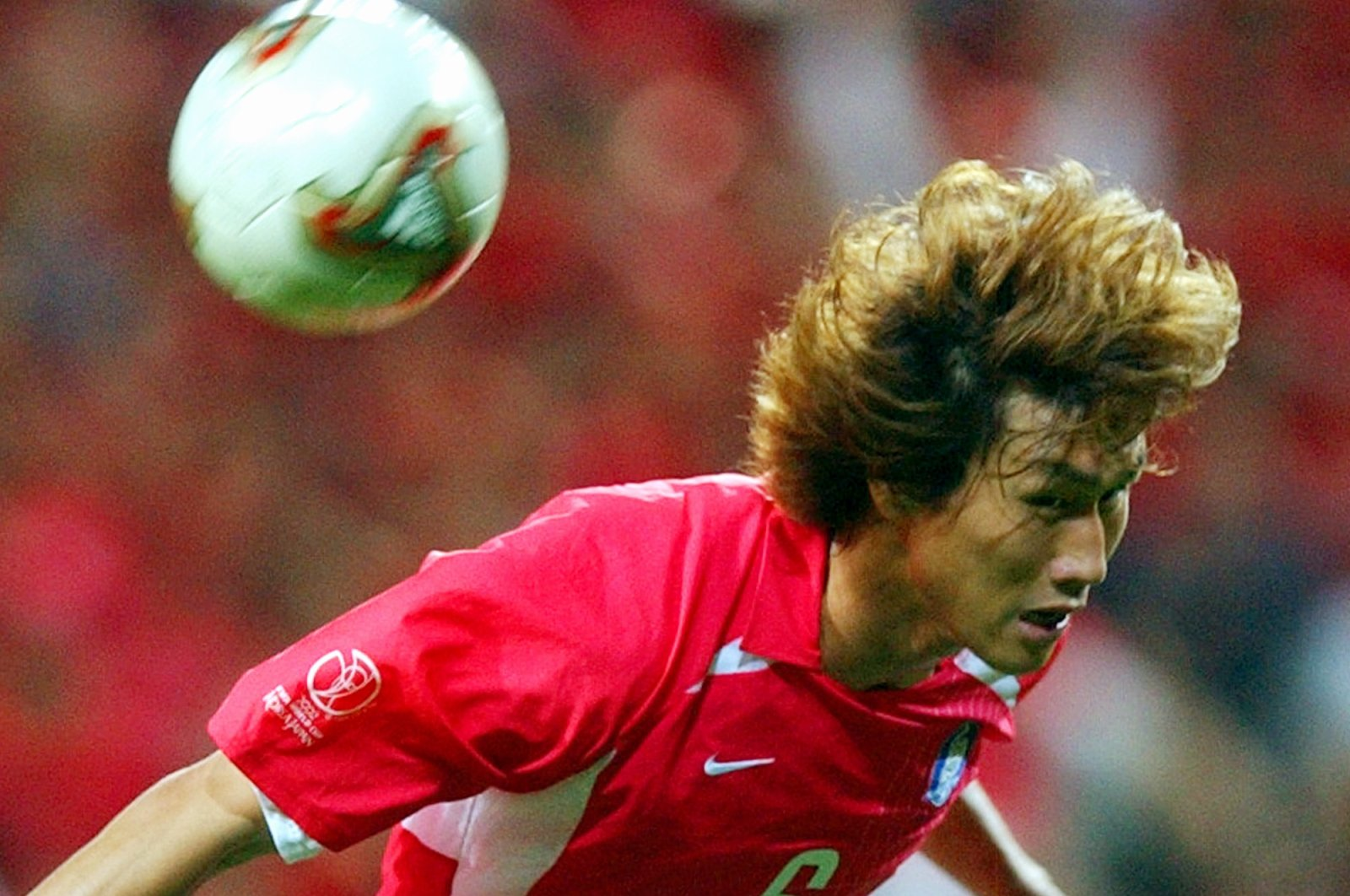 South Korea's Yoo Sang-chul jumps for a header, during the 2002 World Cup semifinal against Germany, at the Seoul World Cup stadium, Seoul, South Korea, June 25, 2002. (AP photo)