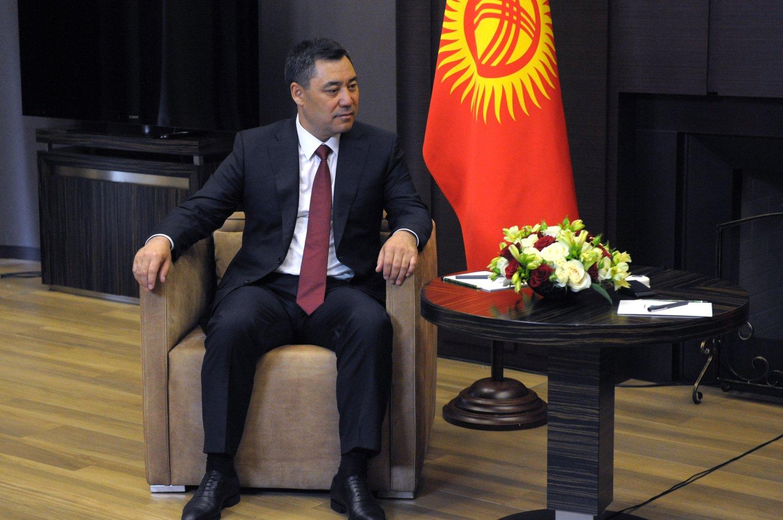 Kyrgyz President Sadyr Japarov attends a meeting with Russian President Vladimir Putin in Sochi, Russia, May 24, 2021.  (EPA Photo)